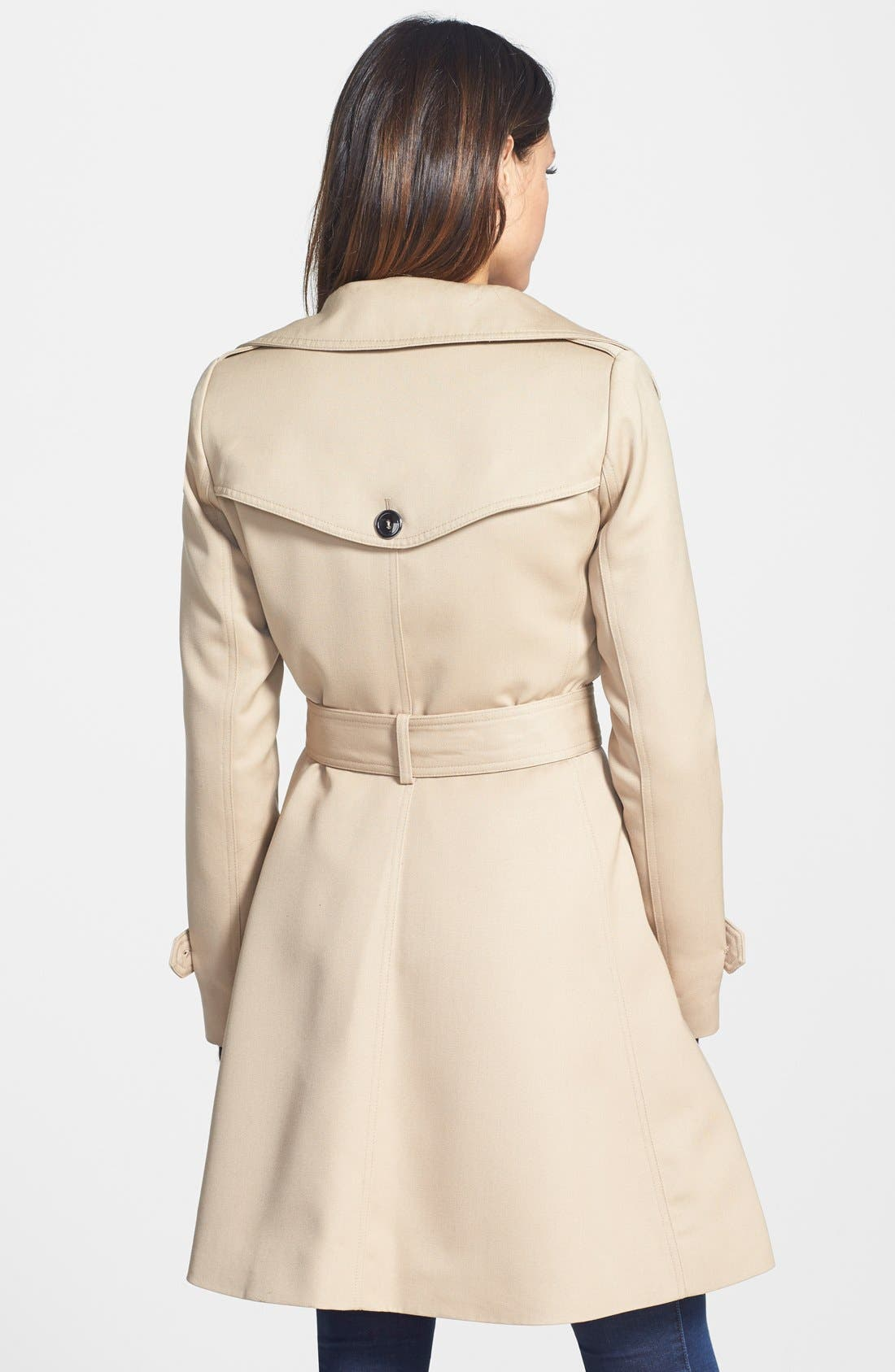 Alternate Image 2  - Trina Turk 'Gwyneth' Flared Wool Gabardine Trench Coat (Regular & Petite)