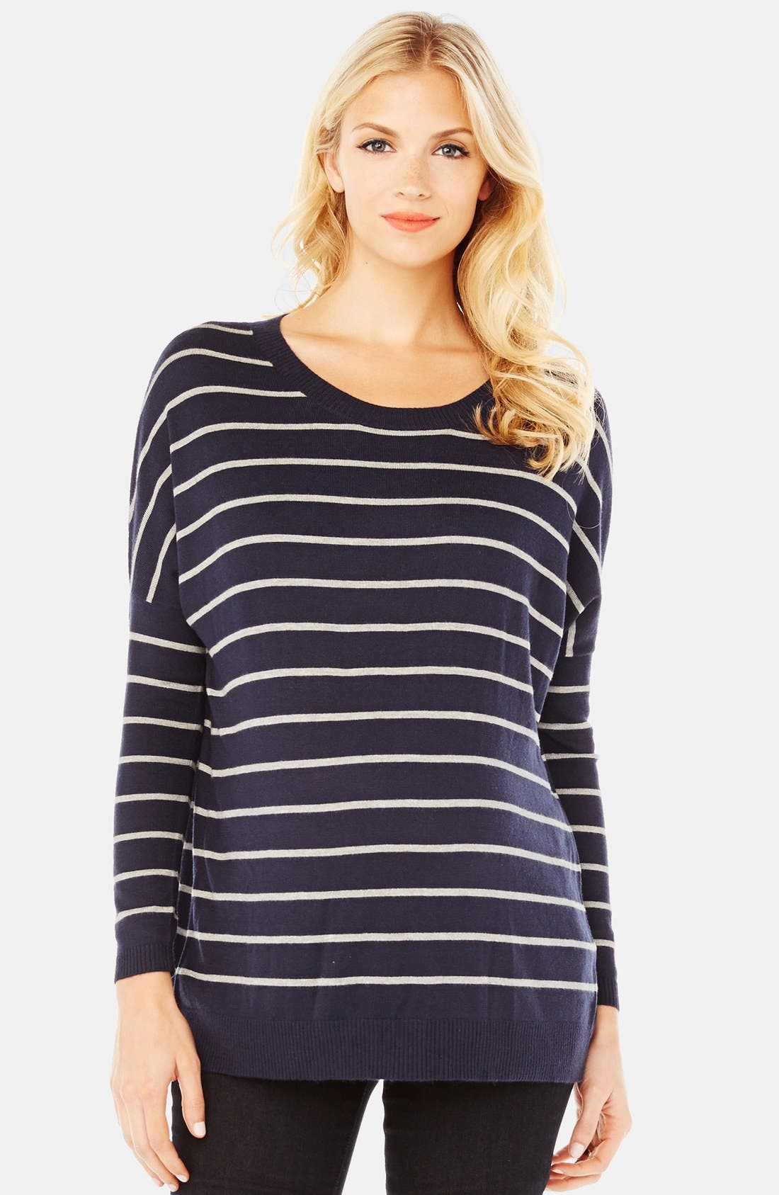 'Whitney' Maternity Sweater,                             Main thumbnail 1, color,                             Navy/ Grey Stripe