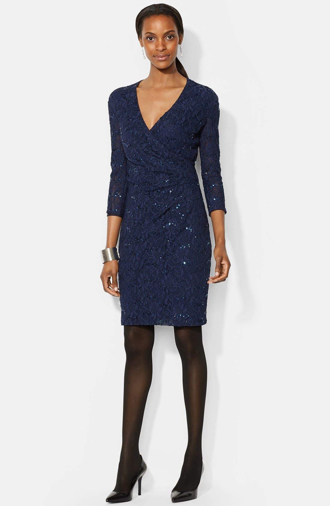 Main Image - Lauren Ralph Lauren Sequin Lace Sheath Dress