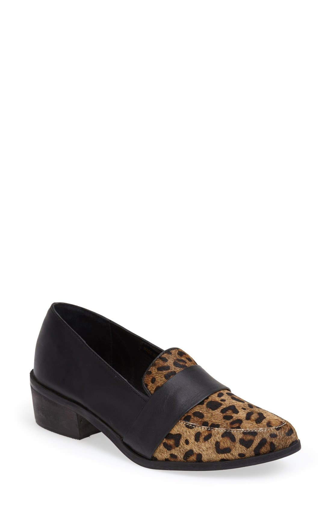 'Baha' Calf Hair and Leather Loafer,                             Main thumbnail 1, color,                             Black Leopard