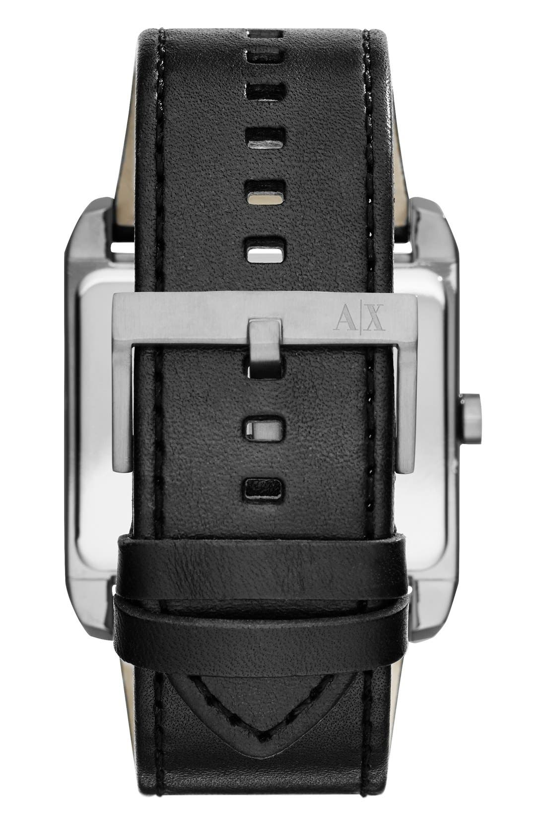 Rectangular Leather Strap Watch, 43mm x 36mm,                             Alternate thumbnail 2, color,                             Black/ Gunmetal