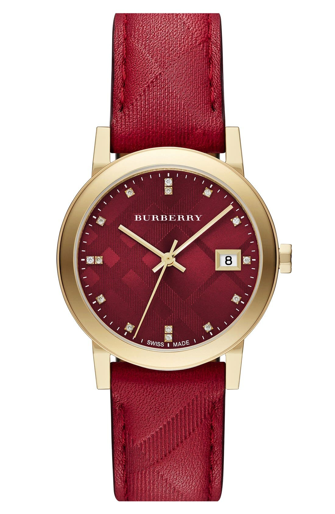 Main Image - Burberry 'New Classic' Diamond Index Leather Strap Watch, 34mm