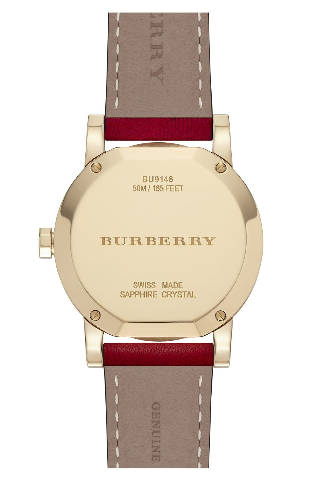 Alternate Image 3  - Burberry 'New Classic' Diamond Index Leather Strap Watch, 34mm