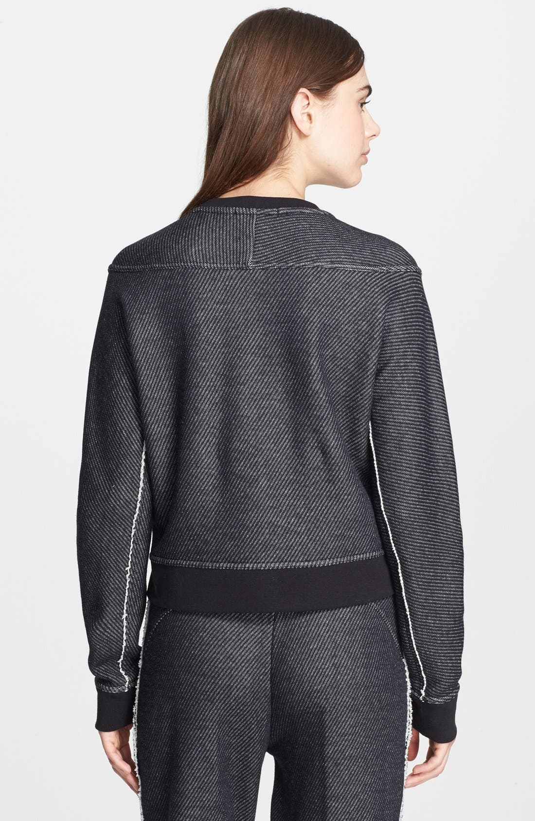 Alternate Image 2  - T by Alexander Wang Twill & French Terry Crop Sweatshirt