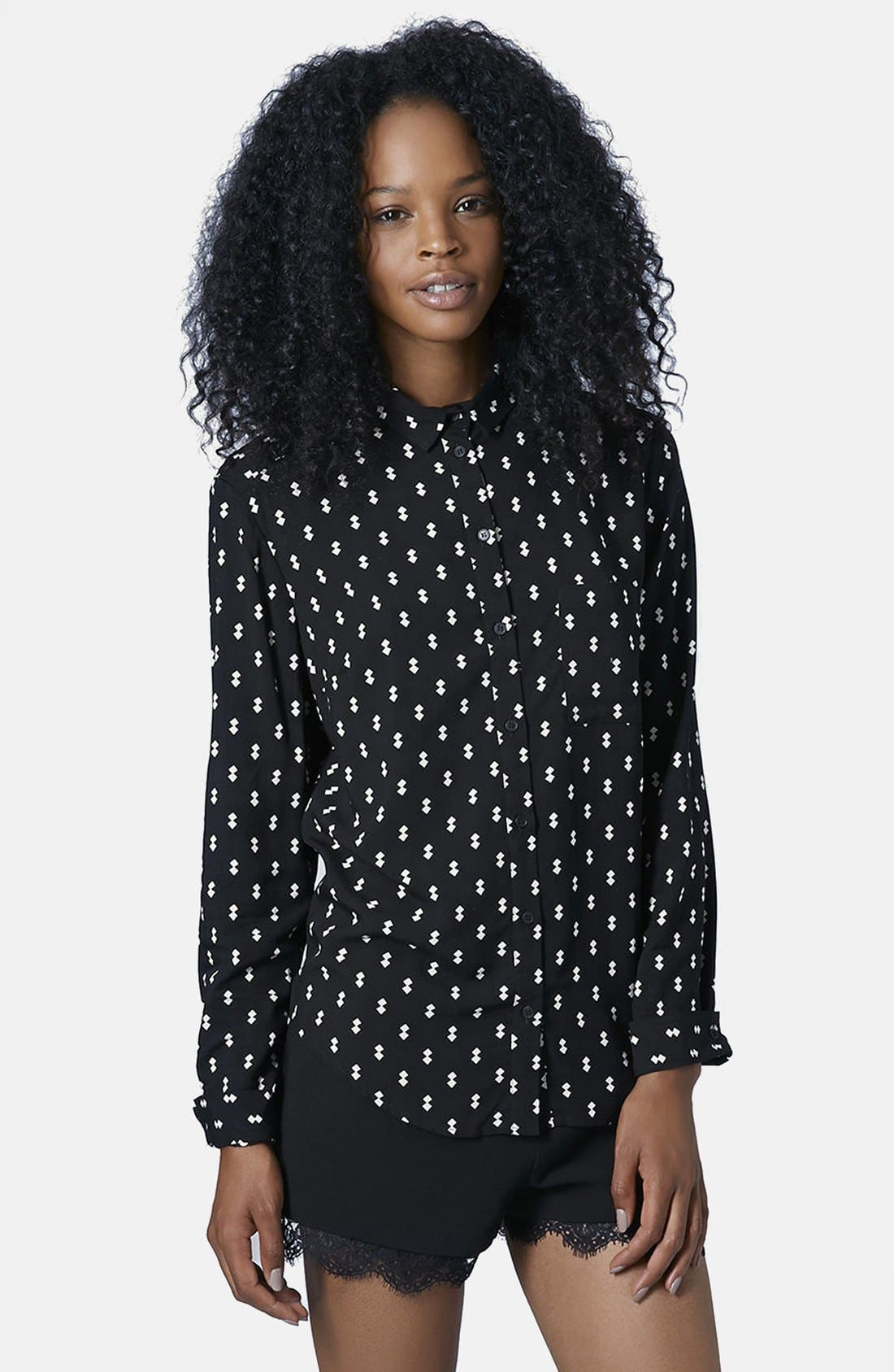 Alternate Image 1 Selected - Topshop Diamond Print Woven Shirt