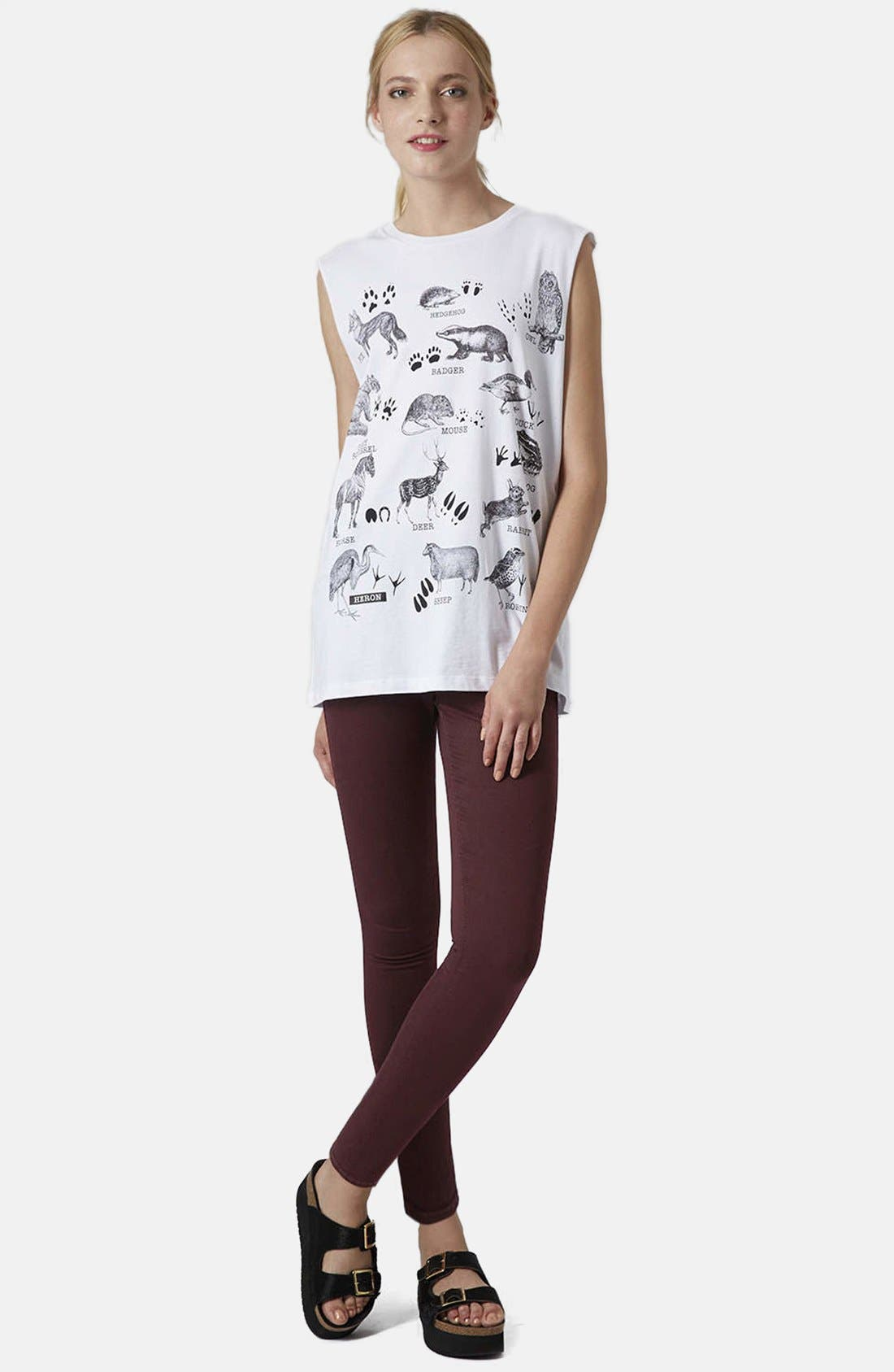 Alternate Image 5  - Topshop Moto 'Leigh' Stretch Ankle Skinny Jeans (Aubergine)