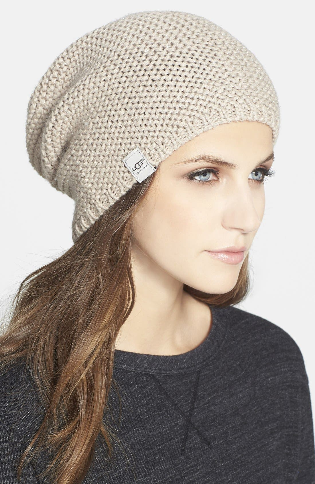 Australia 'Nyla Slouchy' Lurex Beanie,                         Main,                         color, Moonlight