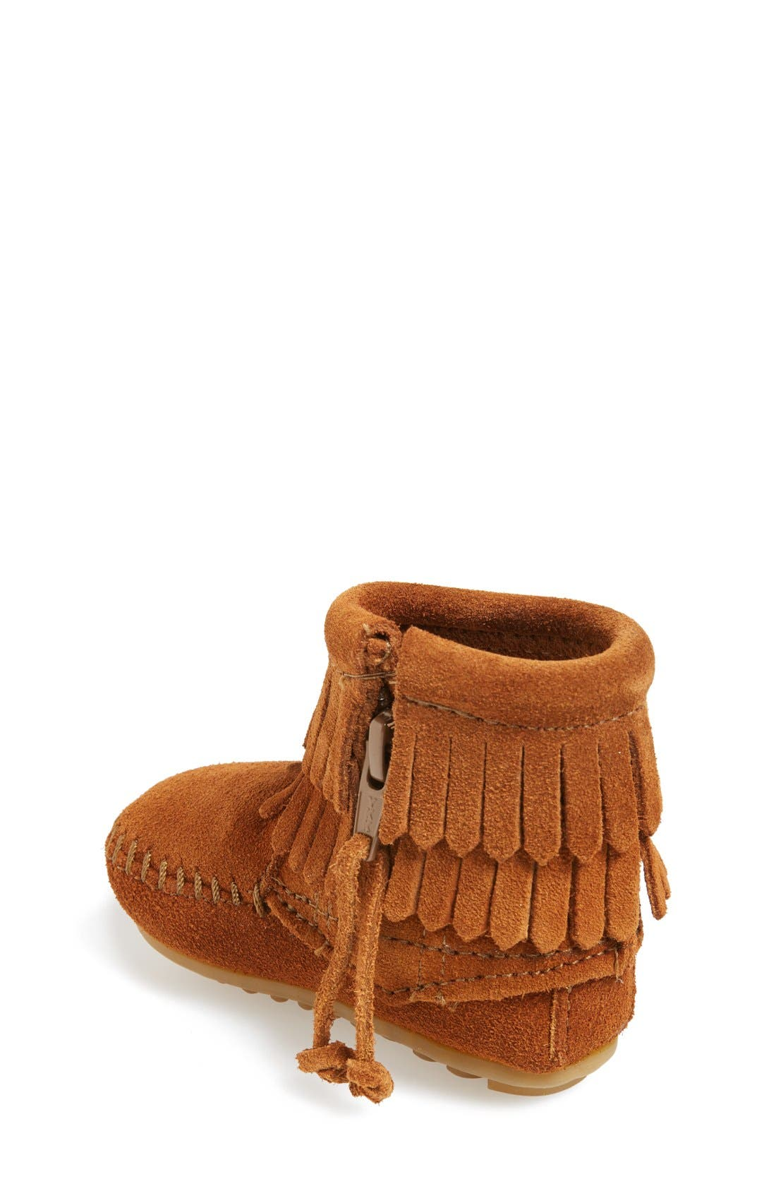 Double Fringe Moccasin,                             Alternate thumbnail 2, color,                             Brown