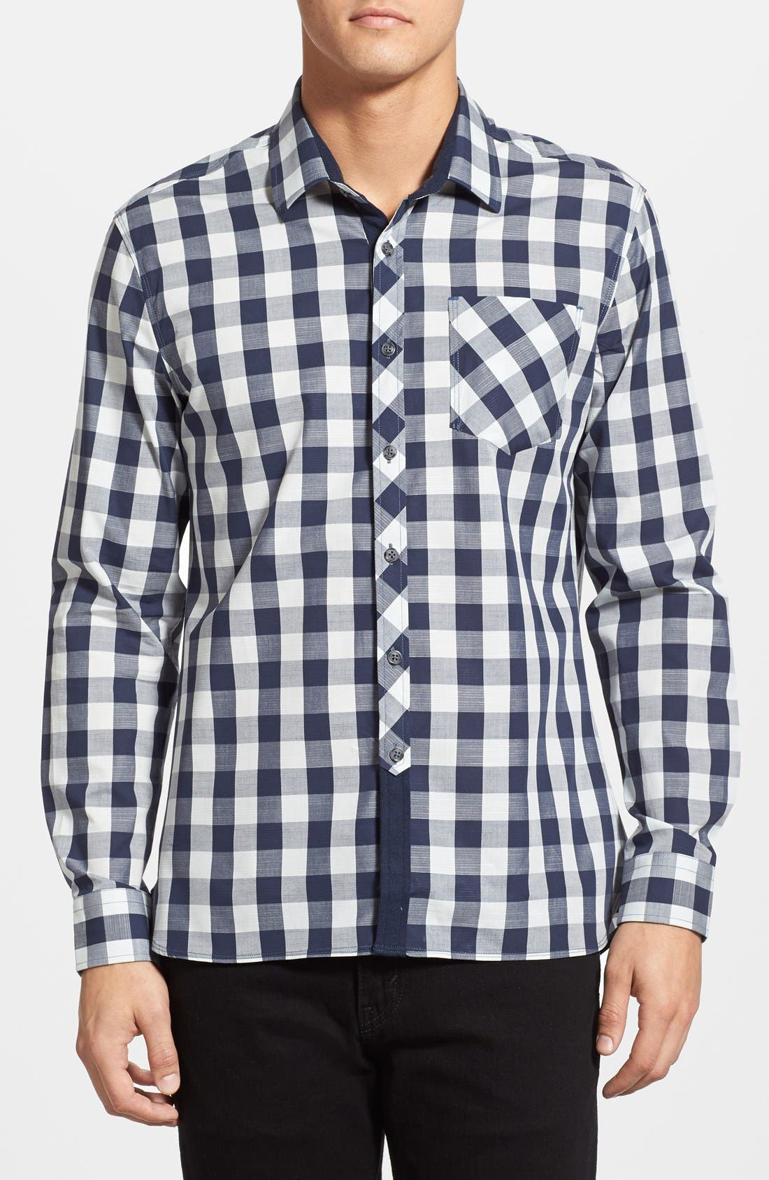 'Rip Tide' Trim Fit Check Woven Shirt,                         Main,                         color, Navy