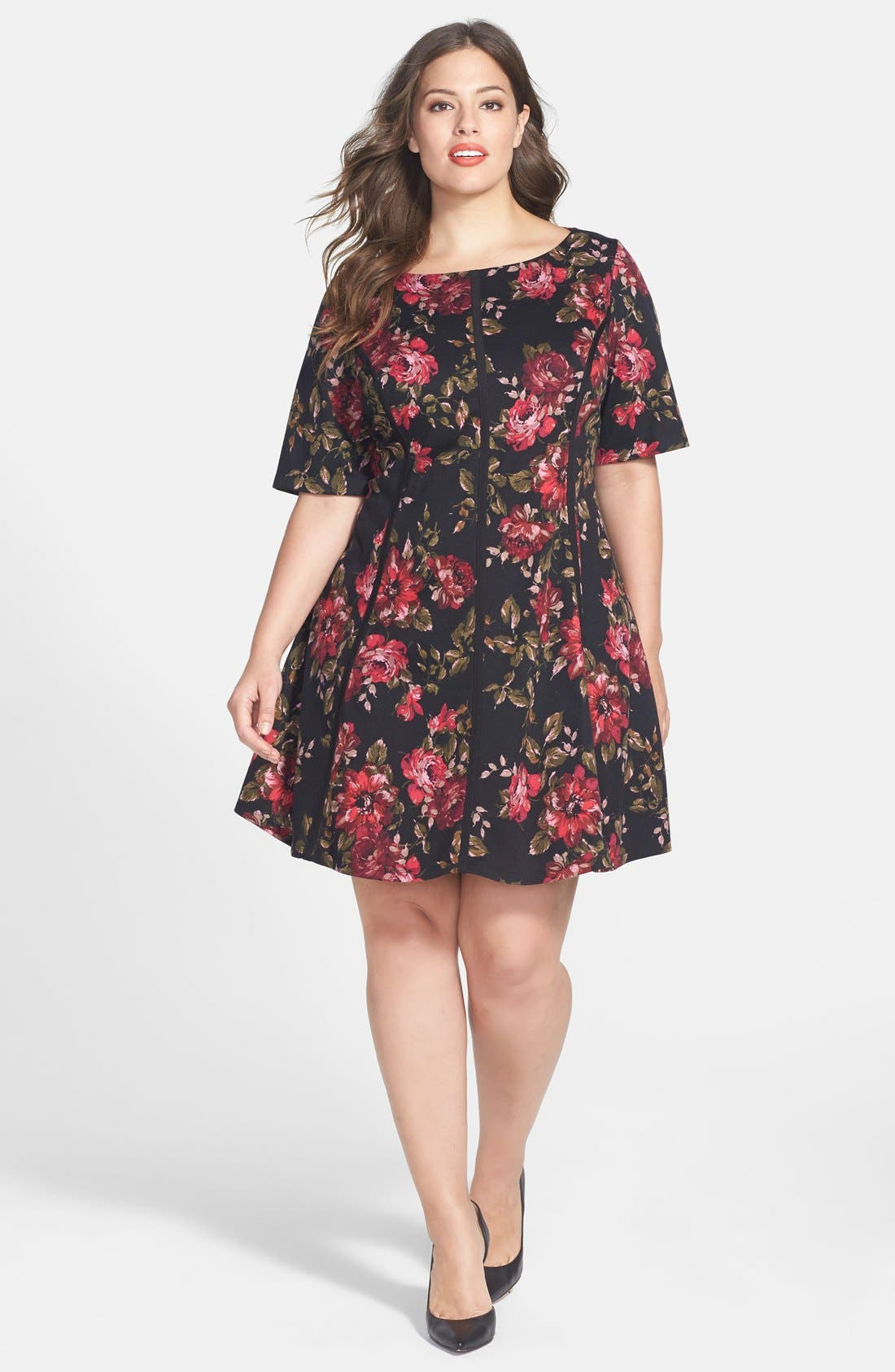 Alternate Image 1 Selected - Gabby Skye Floral Print Fit & Flare Dress (Plus Size)