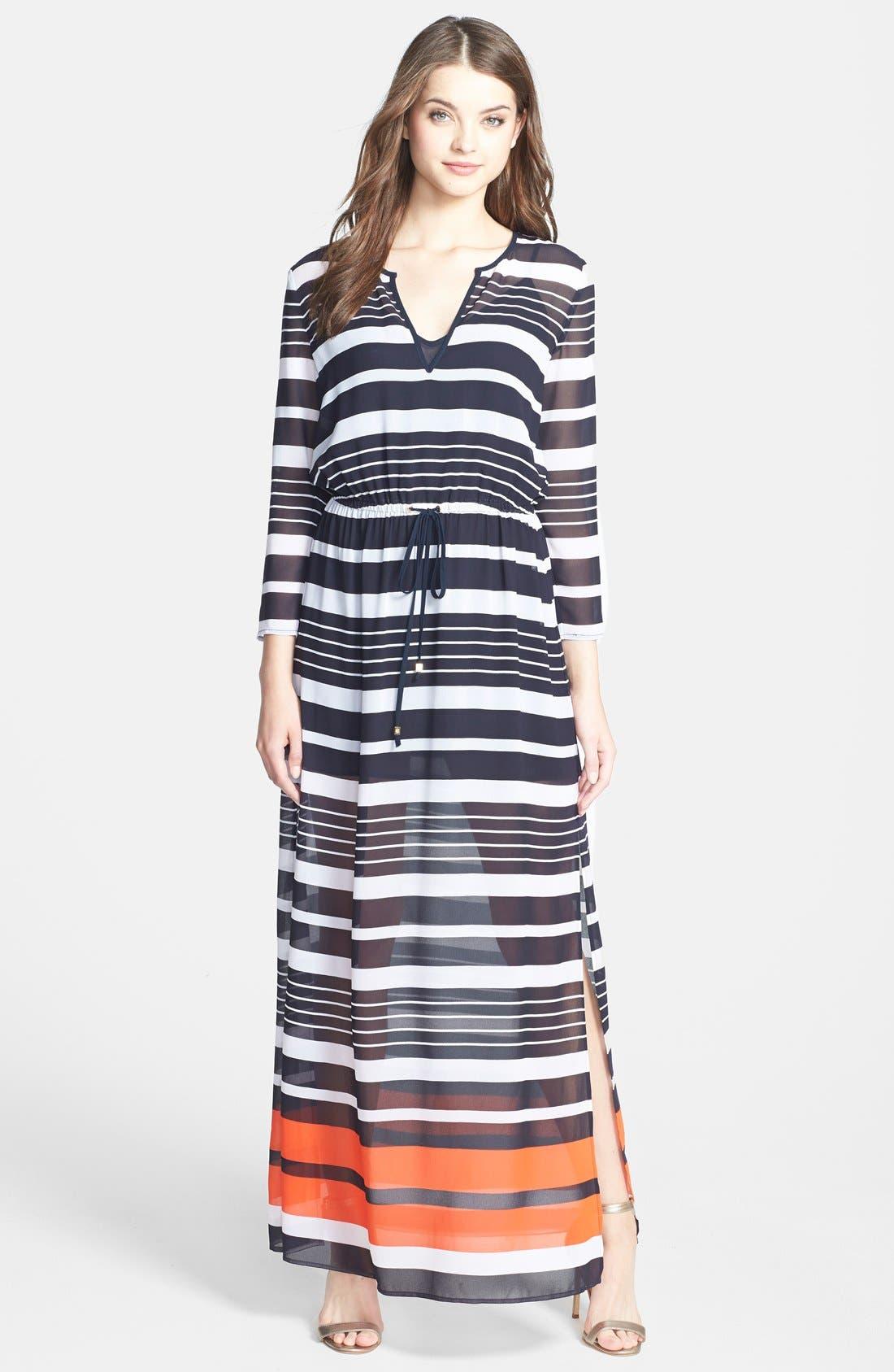 Alternate Image 1 Selected - MICHAEL Michael Kors 'Helsinki Stripe' Georgette Maxi Dress