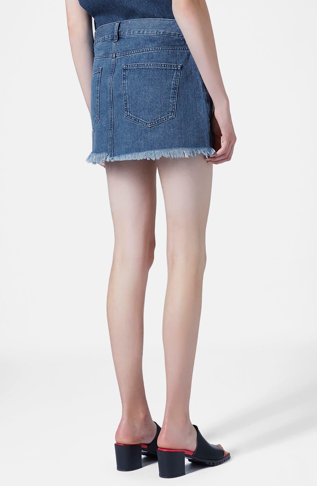 Alternate Image 2  - Marques'Almeida for Topshop Denim Miniskirt