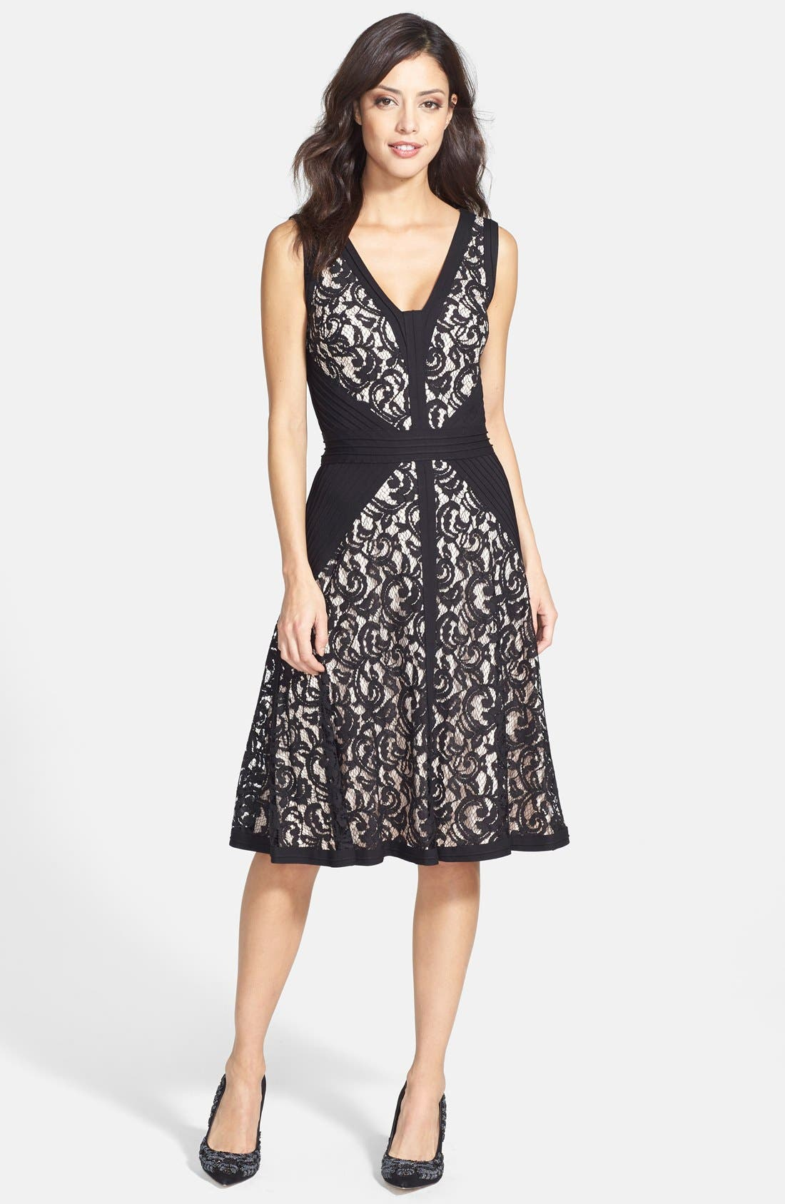 Alternate Image 3  - Tadashi Shoji Lace & Jersey Fit & Flare Dress (Regular & Petite)