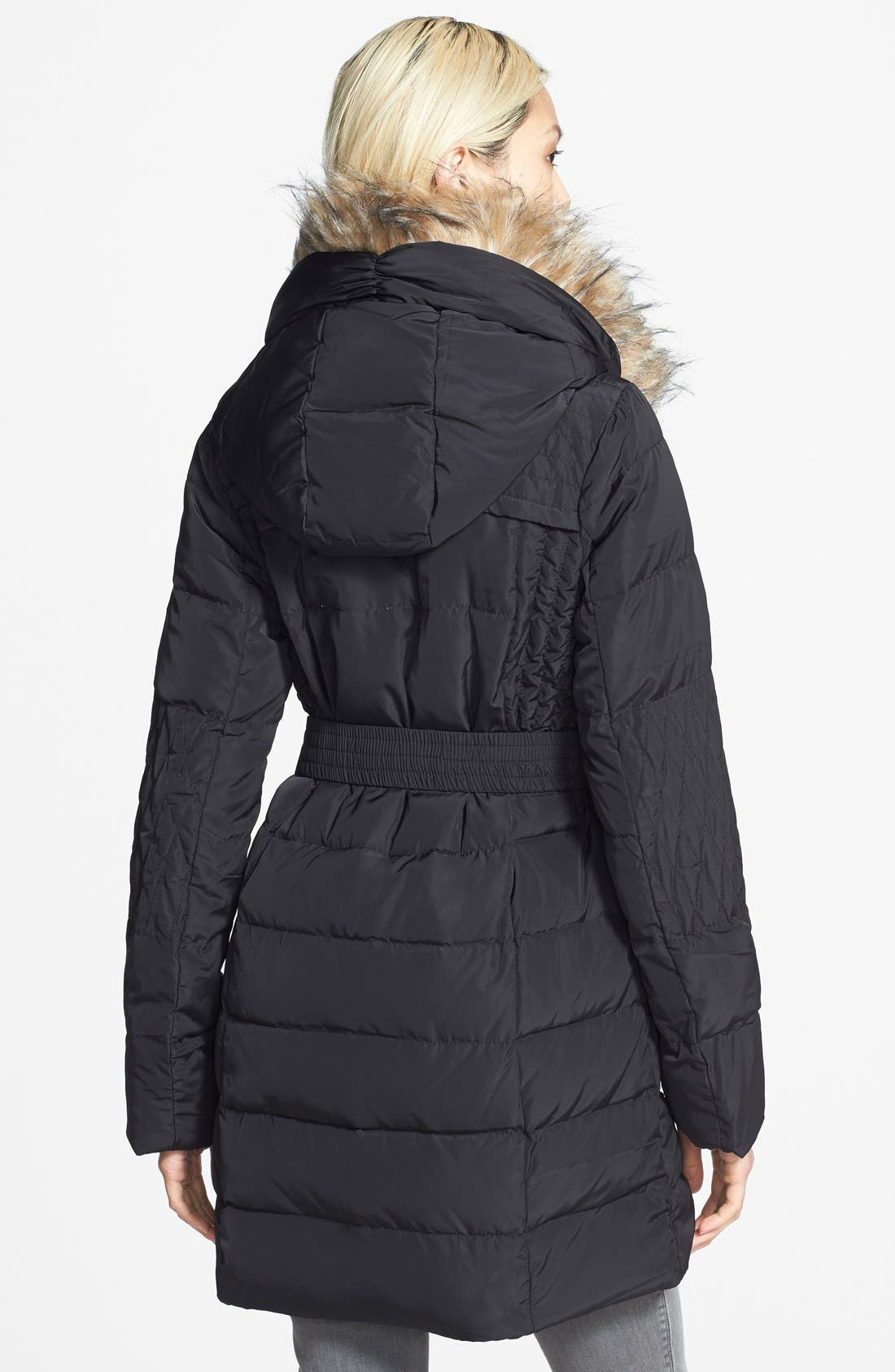 Alternate Image 2  - bebe Belted Quilted Parka with Removable Faux Fur Trim