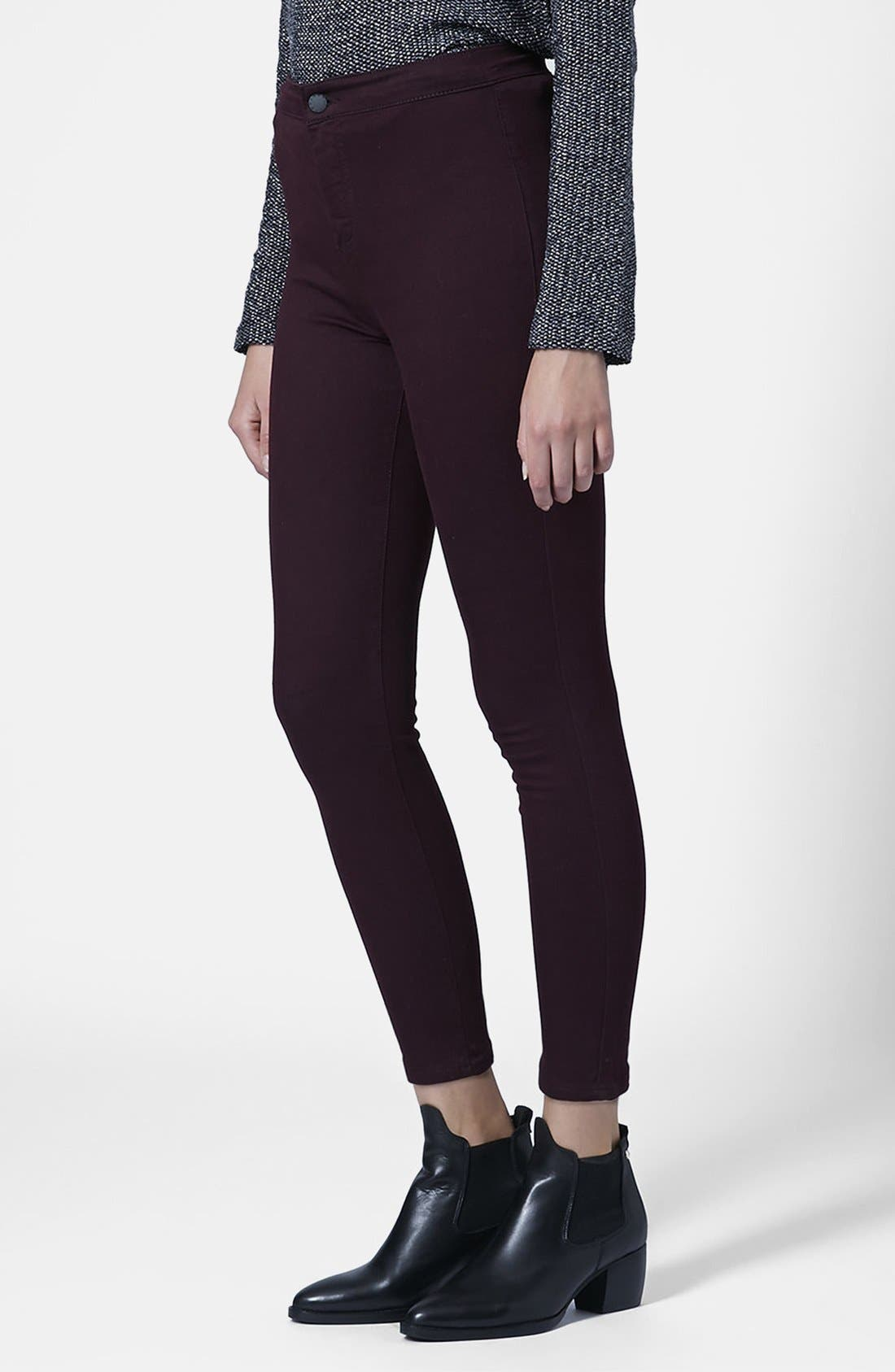 Alternate Image 1 Selected - Topshop Moto 'Joni' High Rise Skinny Jeans (Purple) (Petite)