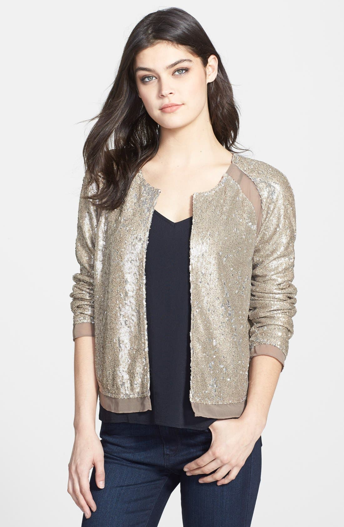 Sequin Jacket,                             Main thumbnail 1, color,                             Champagne
