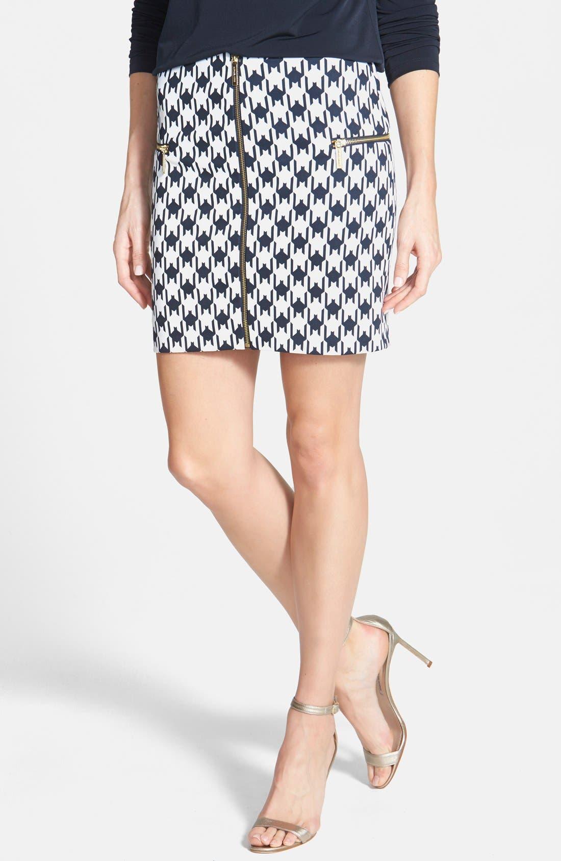 Main Image - MICHAEL Michael Kors Print Zip Front Knit Miniskirt