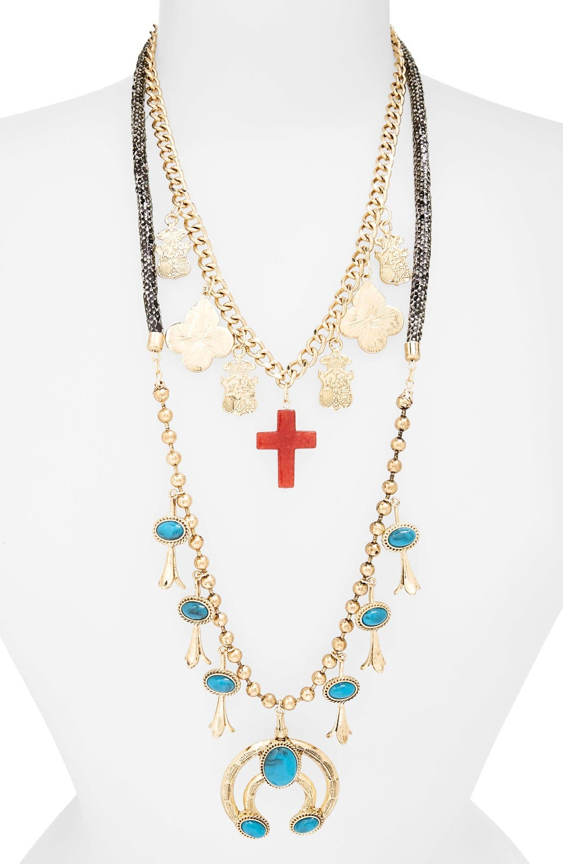 Main Image - Topshop Cross & Turquoise Stone Charm Necklaces