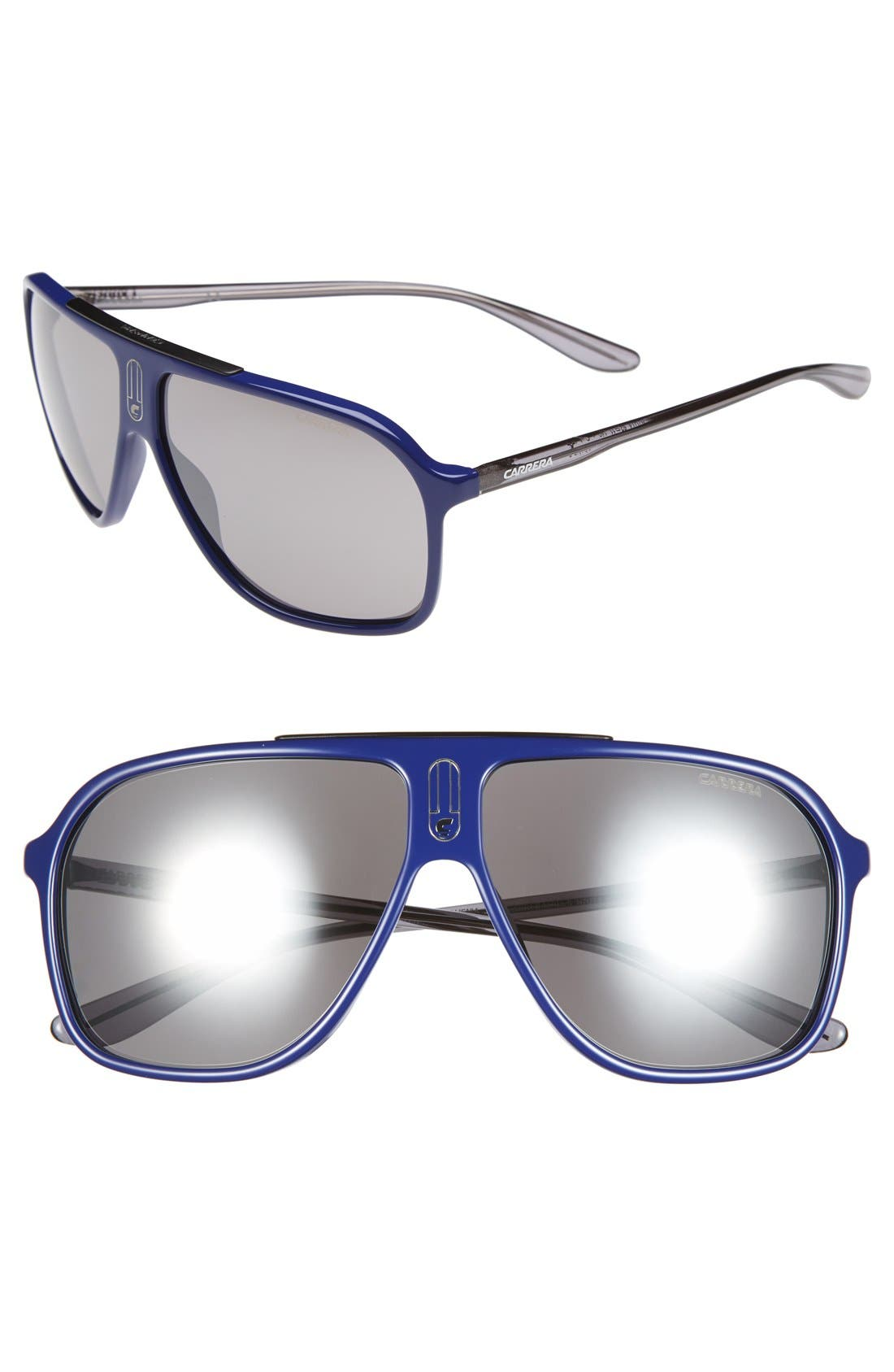 62mm Sunglasses,                             Main thumbnail 1, color,                             Blue Grey/ Black Mirror