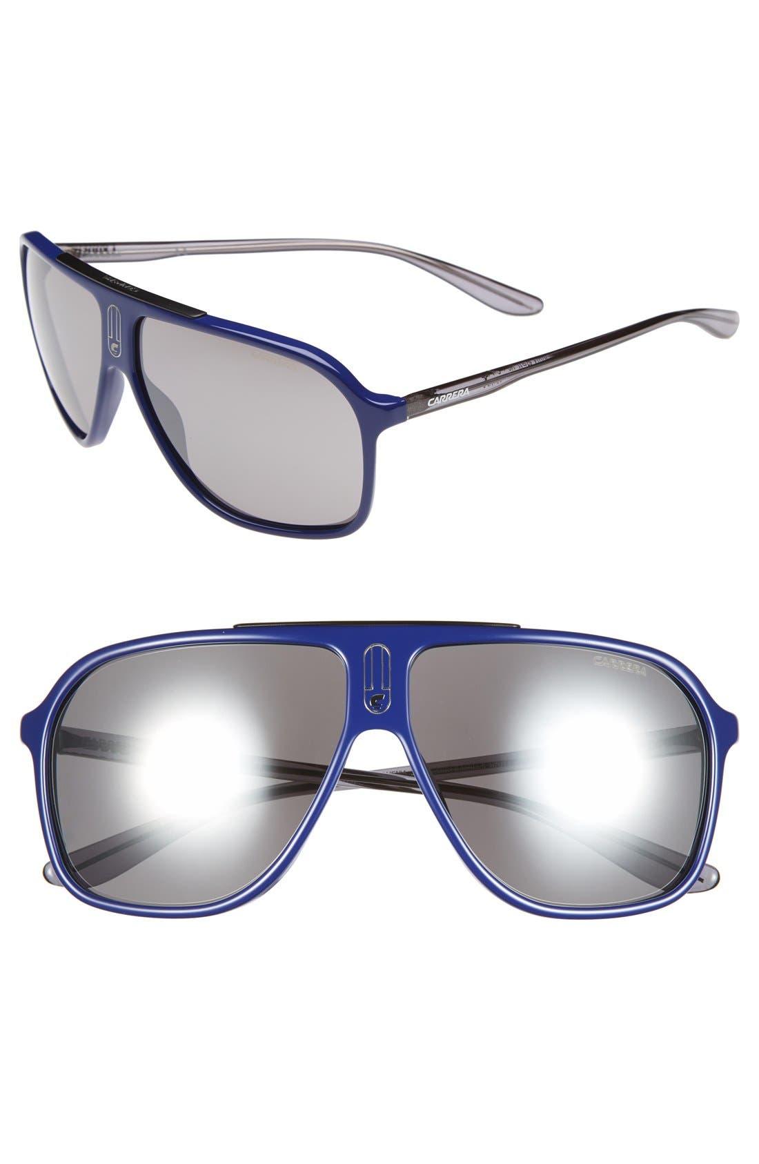 62mm Sunglasses,                         Main,                         color, Blue Grey/ Black Mirror