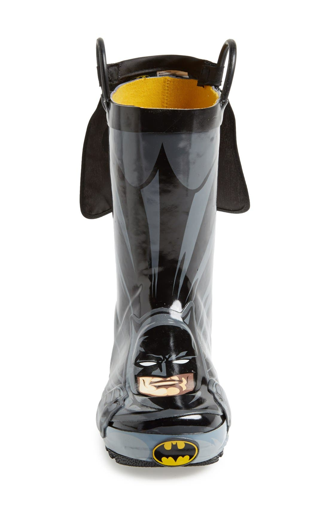 'Batman Everlasting' Waterproof Rain Boot,                             Alternate thumbnail 3, color,                             Black/ Black