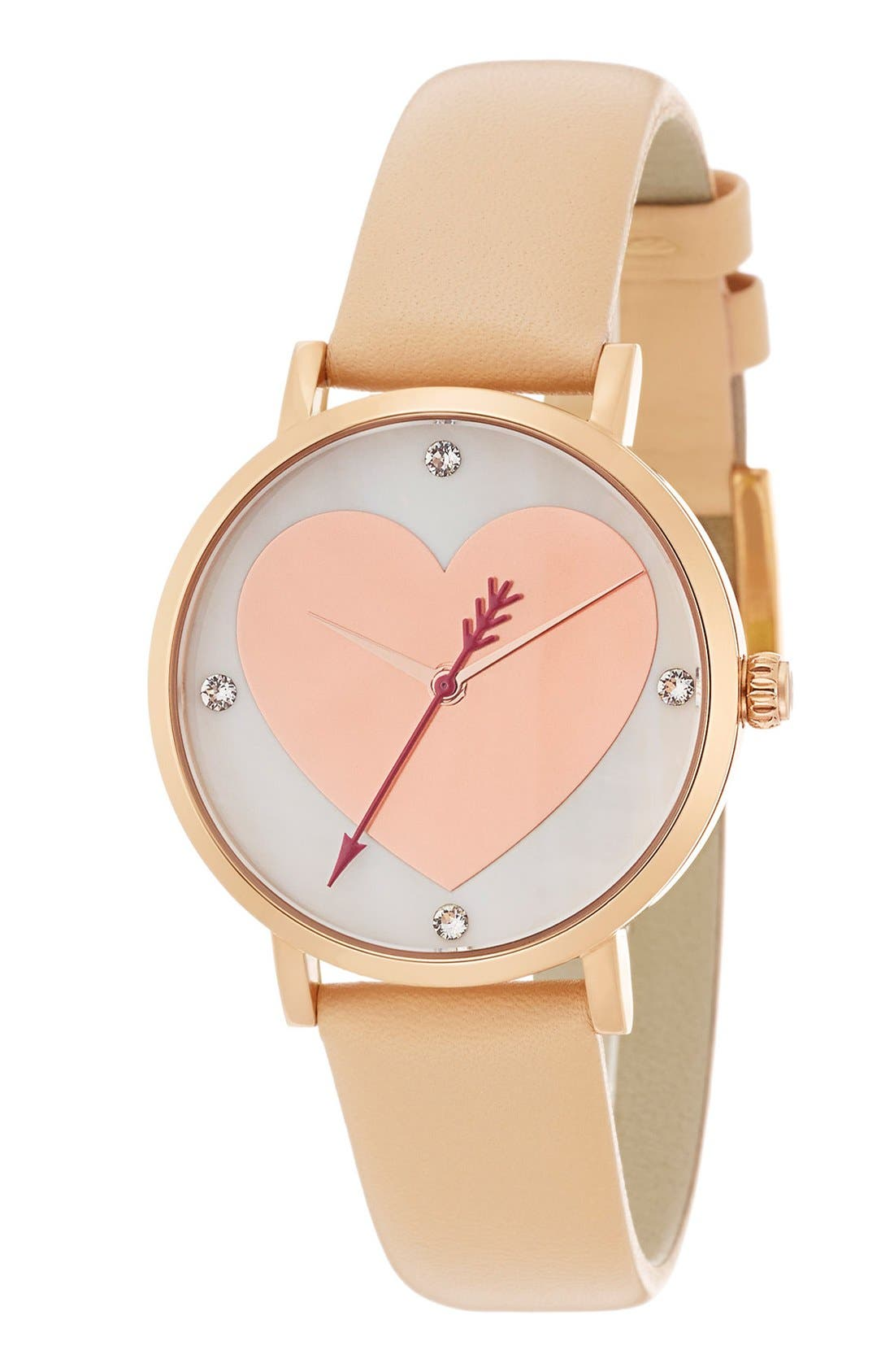 Main Image - kate spade new york 'metro' heart dial leather strap watch, 34mm