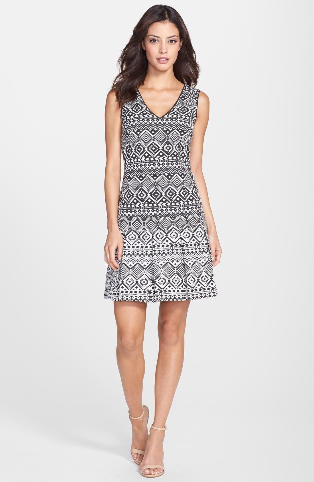 Alternate Image 3  - Jessica Simpson Geo Jacquard Drop Waist Dress