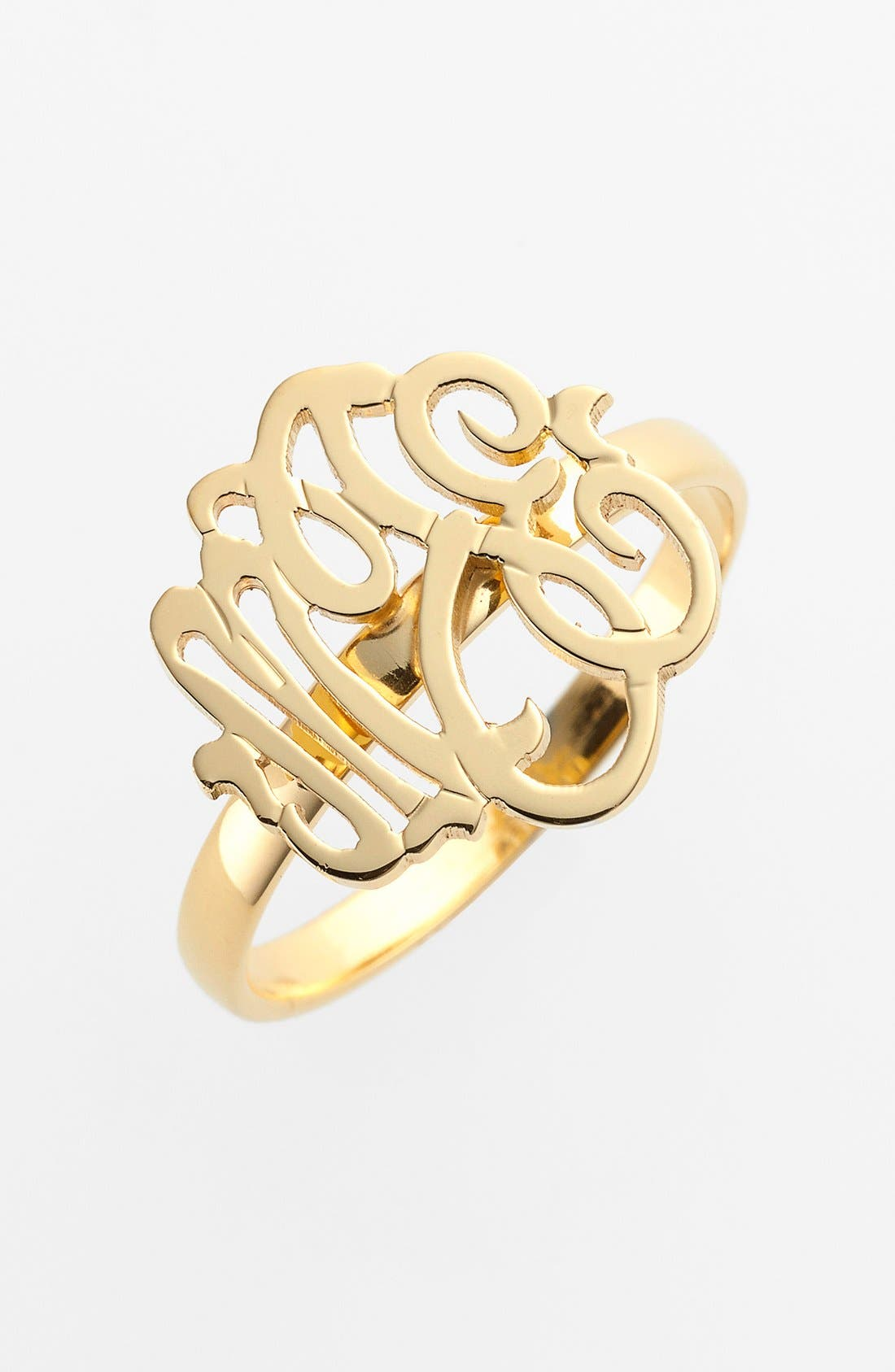 Personalized Script Monogram Ring,                         Main,                         color, Gold