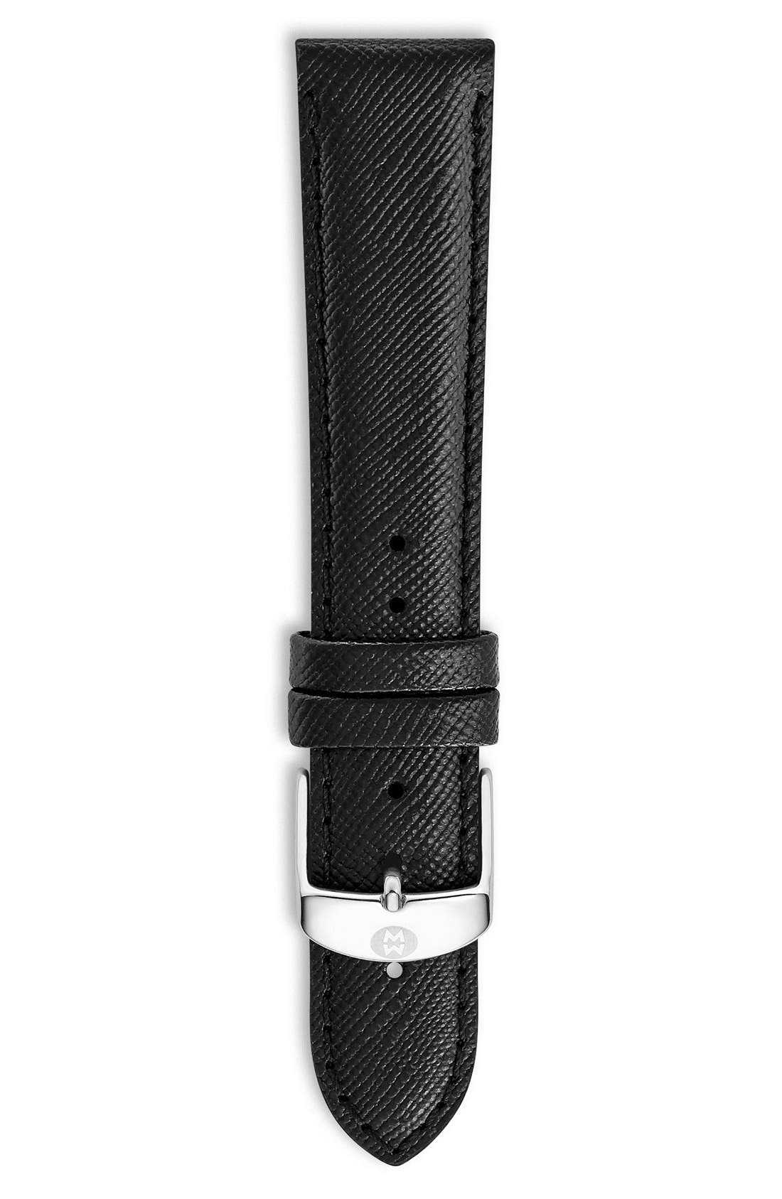 18mm Saffiano Leather Watch Strap,                             Main thumbnail 1, color,                             Jet Black