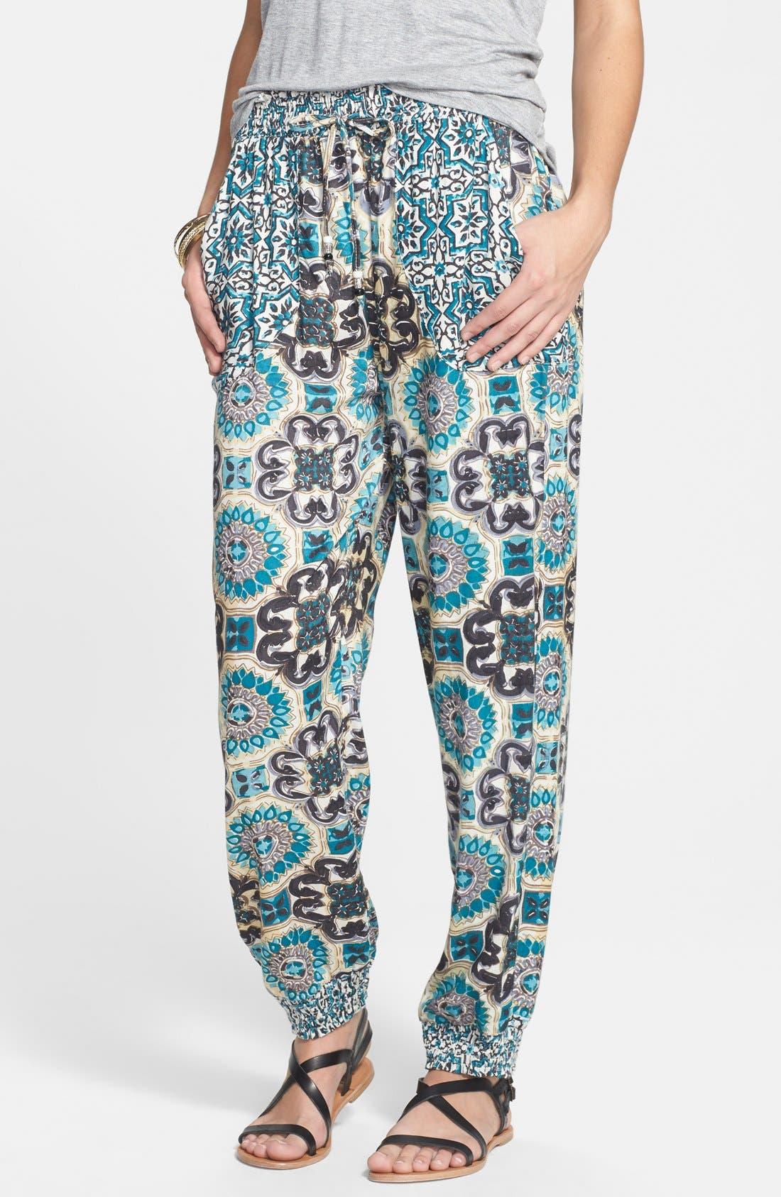 Alternate Image 1 Selected - Angie Print Jogger Pants (Juniors)
