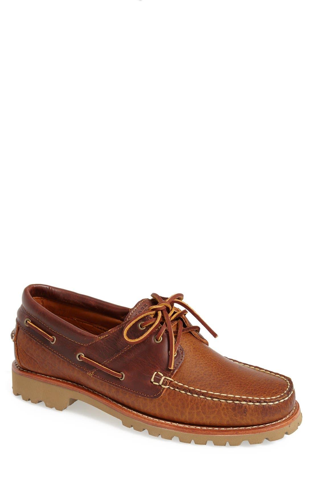 'Custer' Boat Shoe,                             Main thumbnail 1, color,                             Whiskey