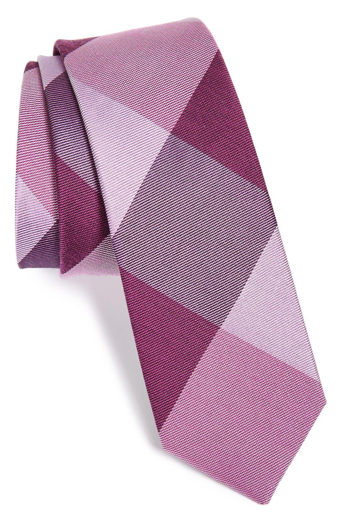 'Bison' Silk Plaid Tie,                         Main,                         color, Azalea