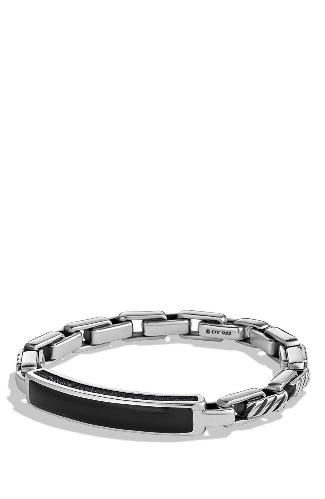 ' Modern Cable' ID Bracelet,                         Main,                         color, Black Onyx