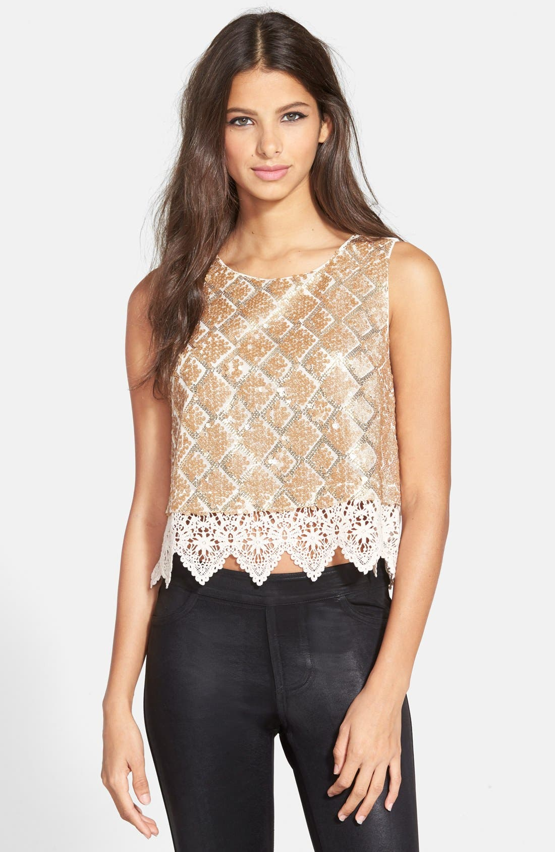 Main Image - ASTR Sequin Crochet Shell