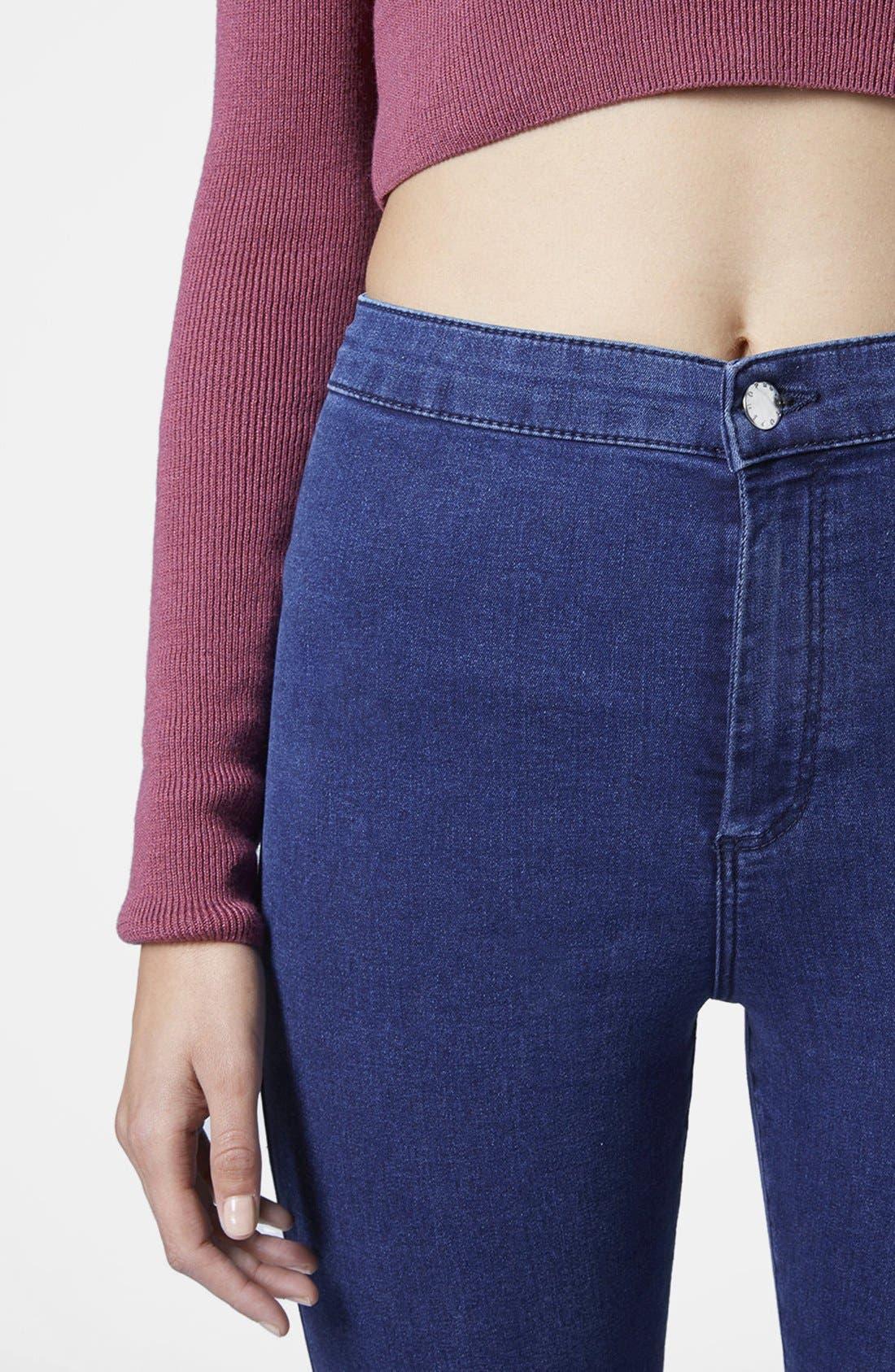 Alternate Image 4  - Topshop Moto 'Joni' High Rise Skinny Jeans (Dark Stone)