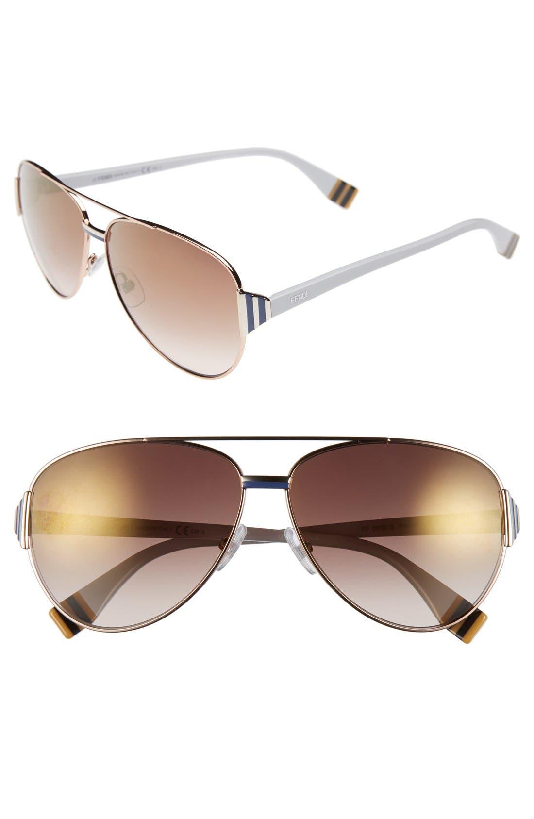 Main Image - Fendi 60mm Aviator Sunglasses