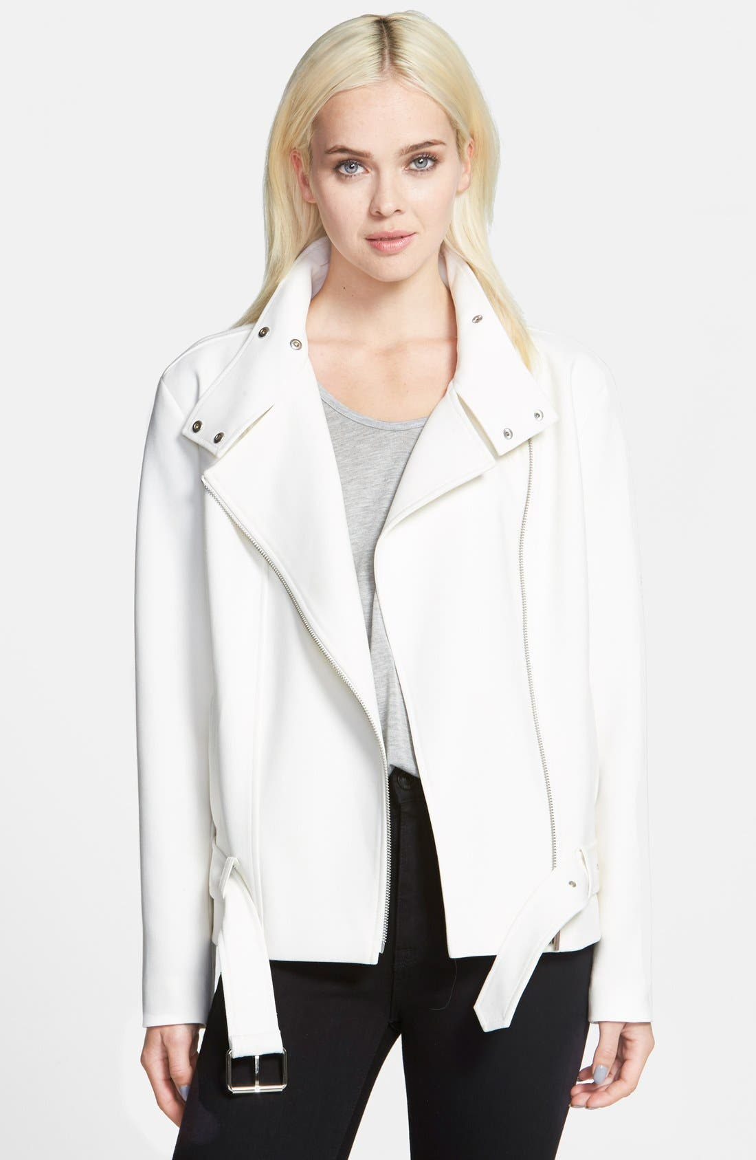 Oversize Moto Jacket,                             Main thumbnail 1, color,                             White Snow