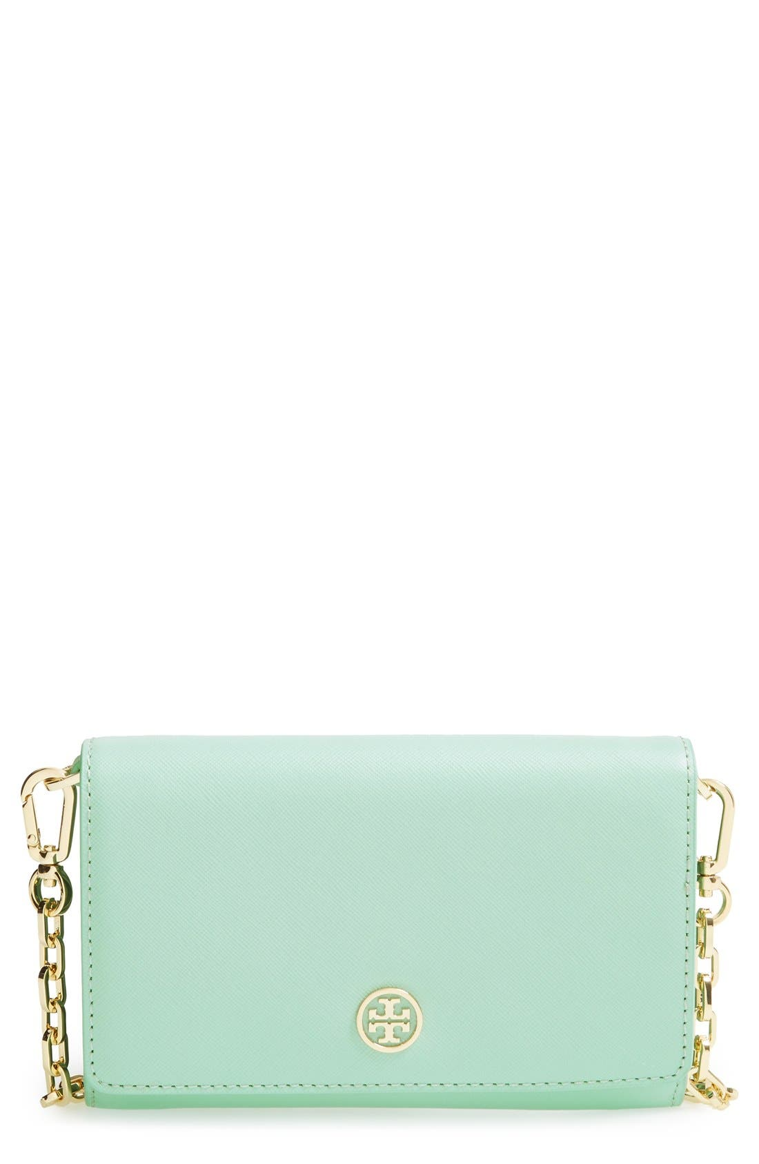 Main Image - Tory Burch 'Robinson' Leather Wallet on a Chain