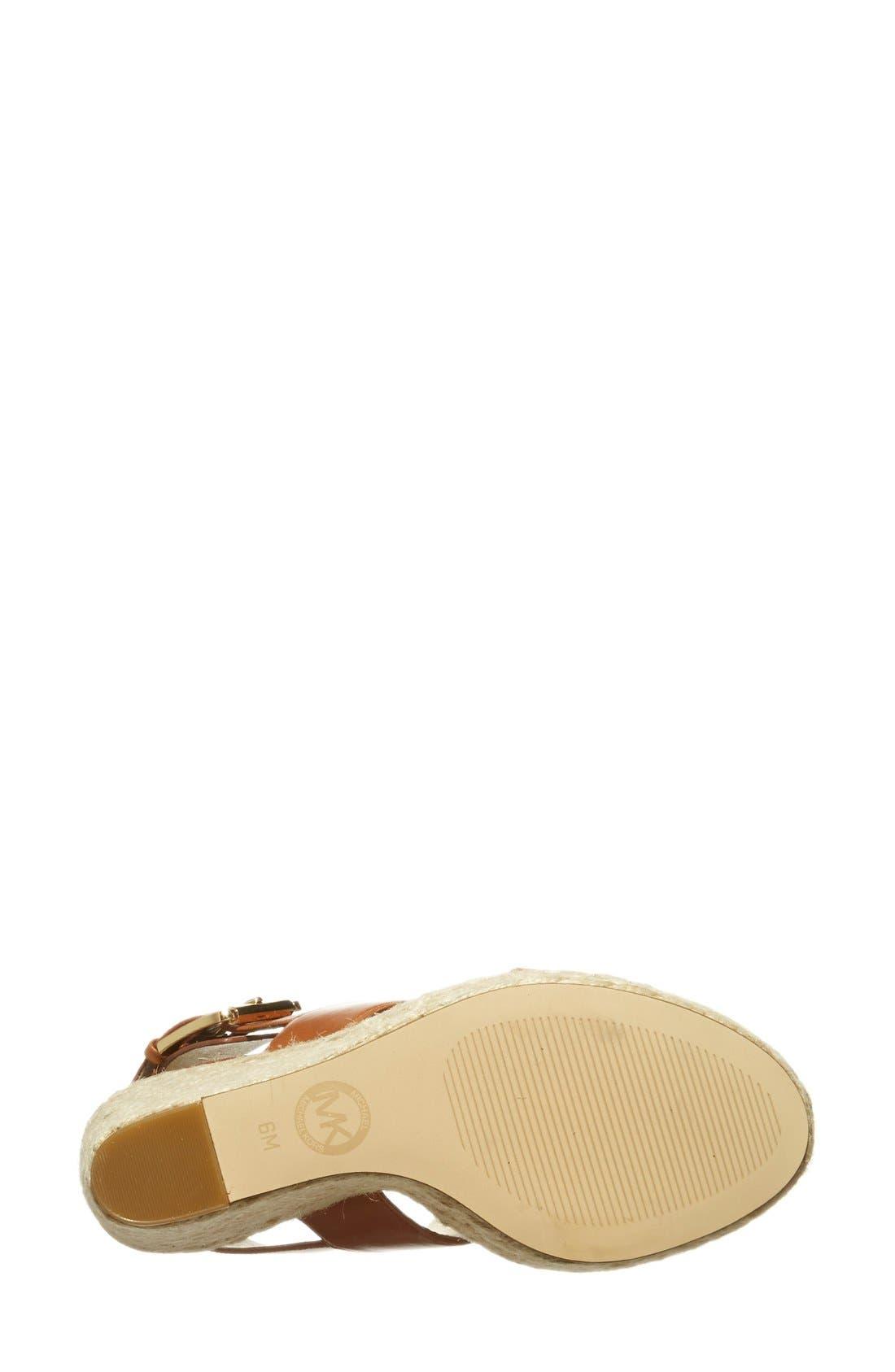 'Posey' Espadrille Wedge Sandal,                             Alternate thumbnail 4, color,                             Luggage