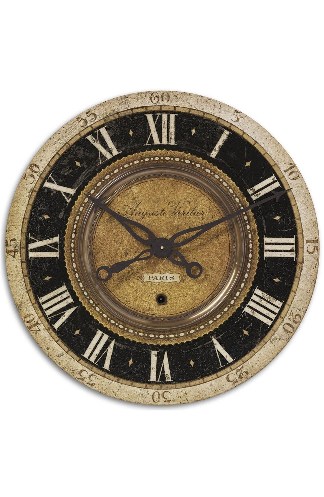 'Auguste Verdier' Wall Clock,                             Main thumbnail 1, color,                             Brown