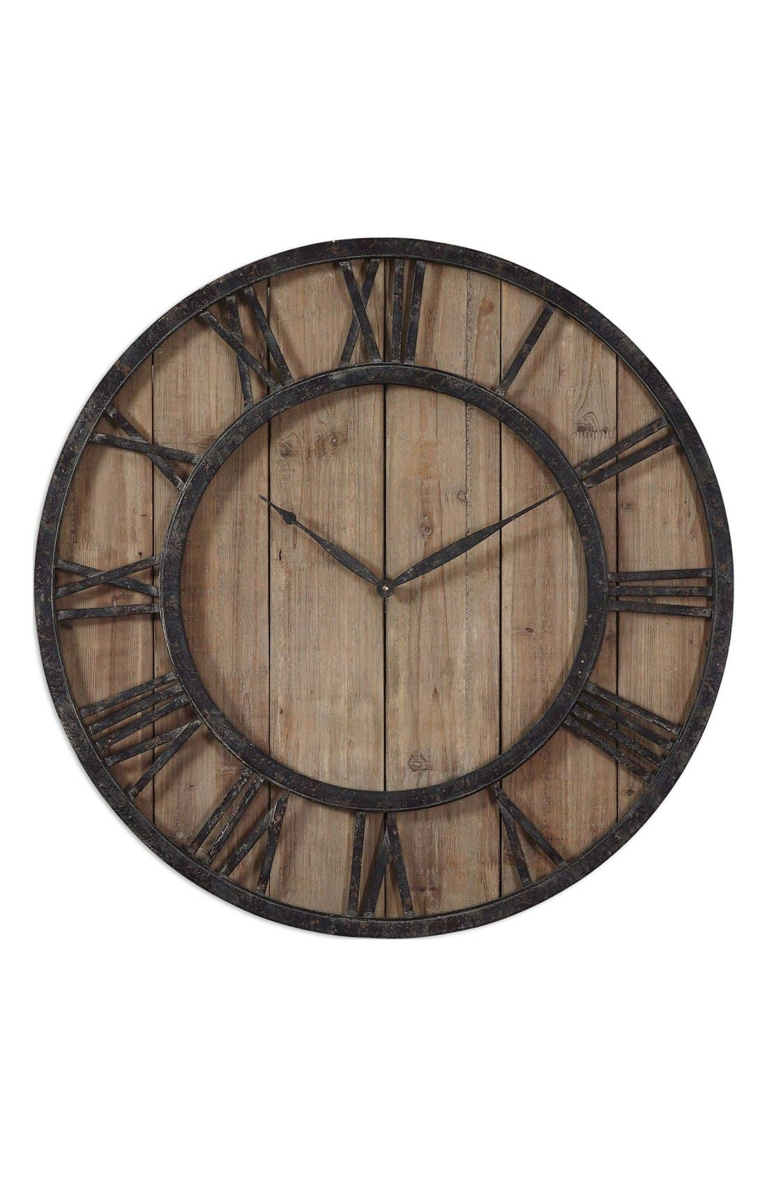 'Powell' Wooden Wall Clock,                         Main,                         color, Brown