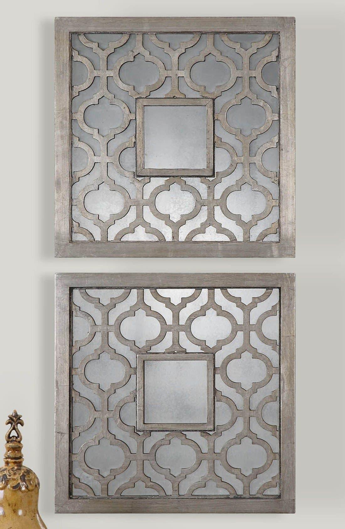 'Sorbolo' Silver Leaf Square Mirror,                             Alternate thumbnail 3, color,                             Silver