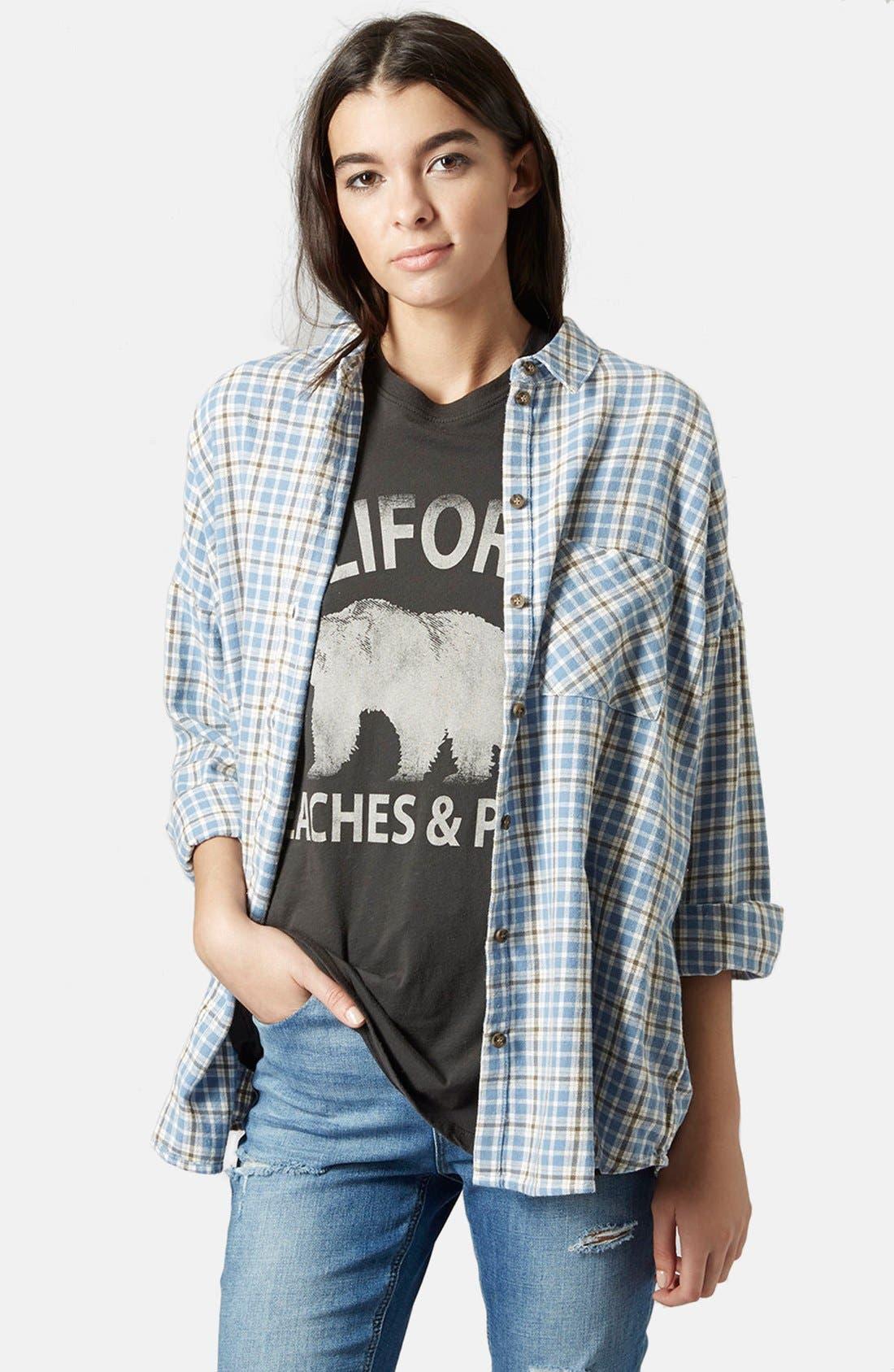 Main Image - Topshop 'George Bobbi' Oversize Check Shirt