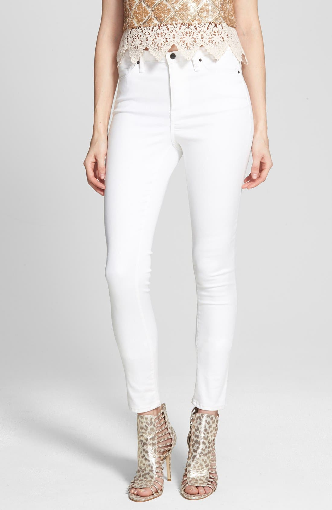 Alternate Image 1 Selected - Kiind Of 'Empower' High Rise Denim Leggings (Rinse Silk Road)