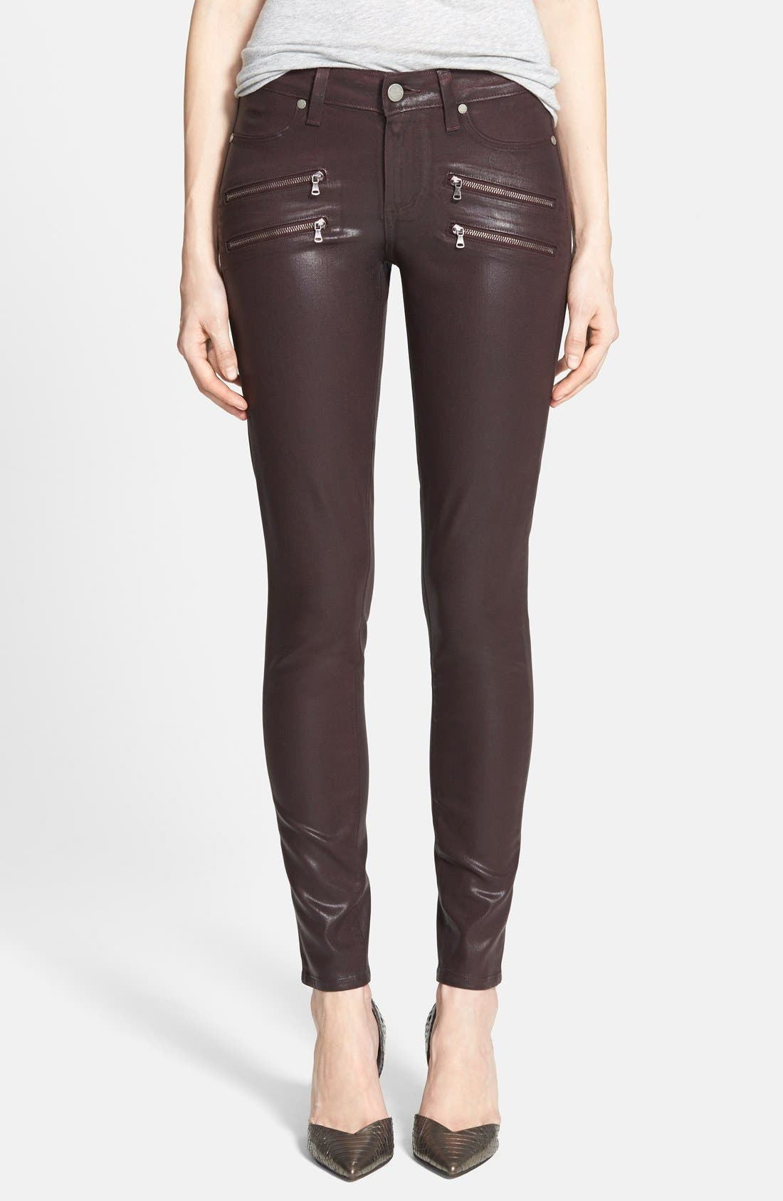 Main Image - Paige Denim 'Edgemont' Coated Skinny Jeans (Dark Mauve Pink)