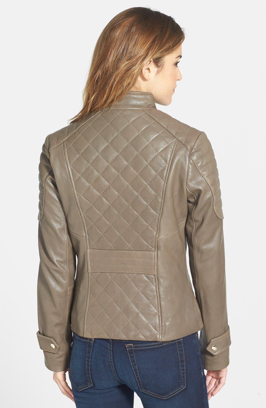 Alternate Image 2  - Via Spiga Quilted Lambskin Leather Jacket
