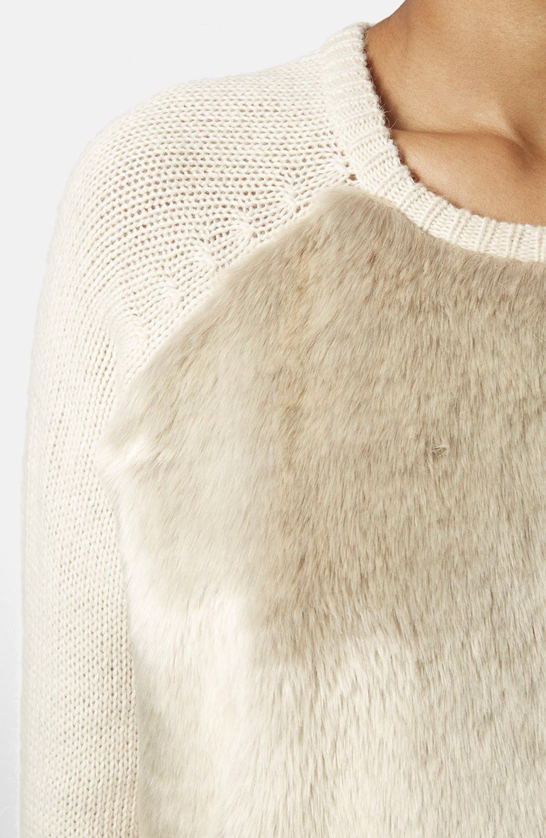 Alternate Image 4  - Topshop Faux Fur Front Sweater