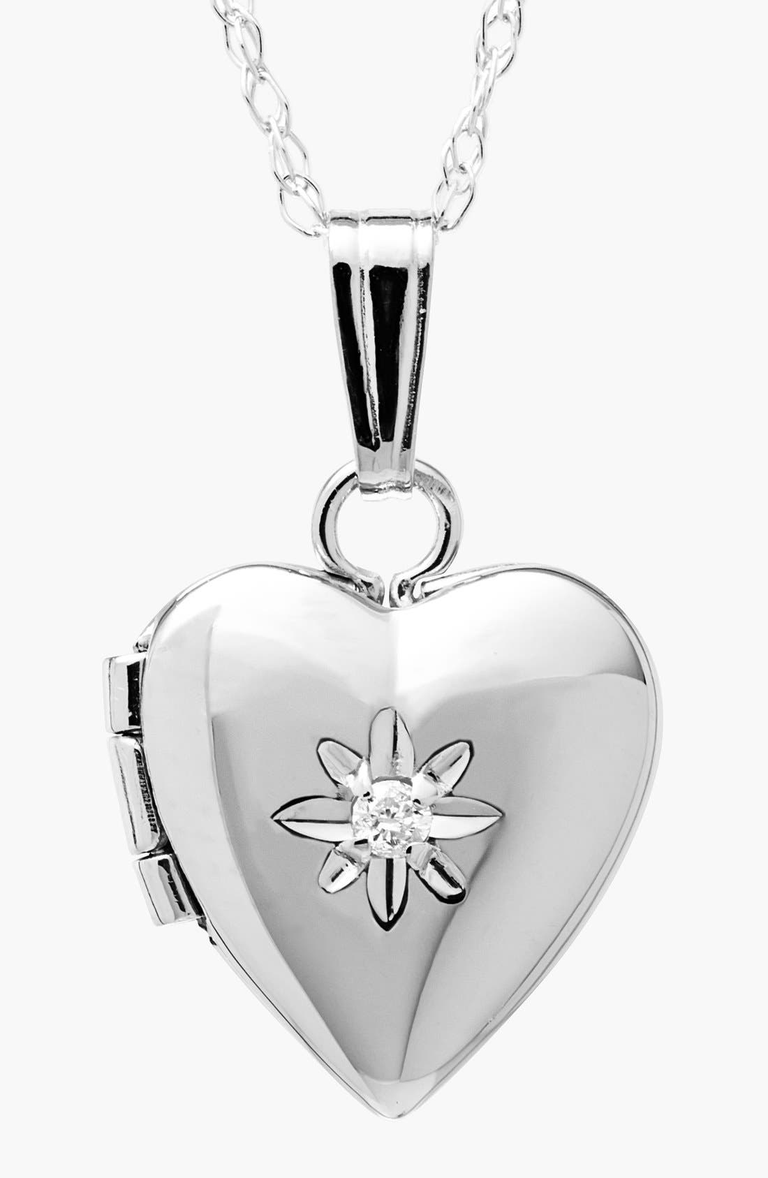 14k White Gold Heart Locket Necklace,                             Main thumbnail 1, color,                             White Gold