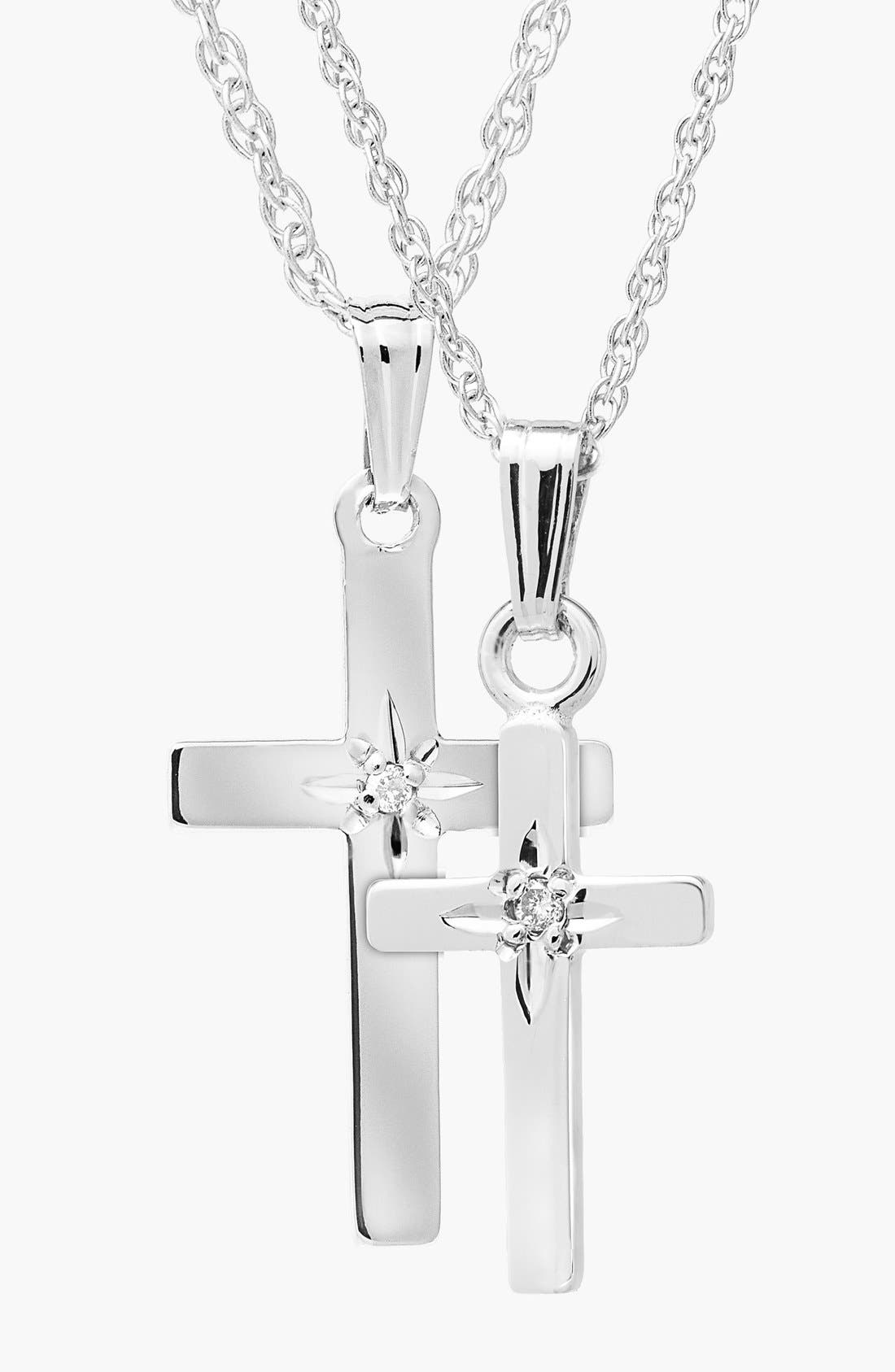 14k White Gold & Diamond Cross Mother & Daughter Necklace Set,                         Main,                         color, White Gold