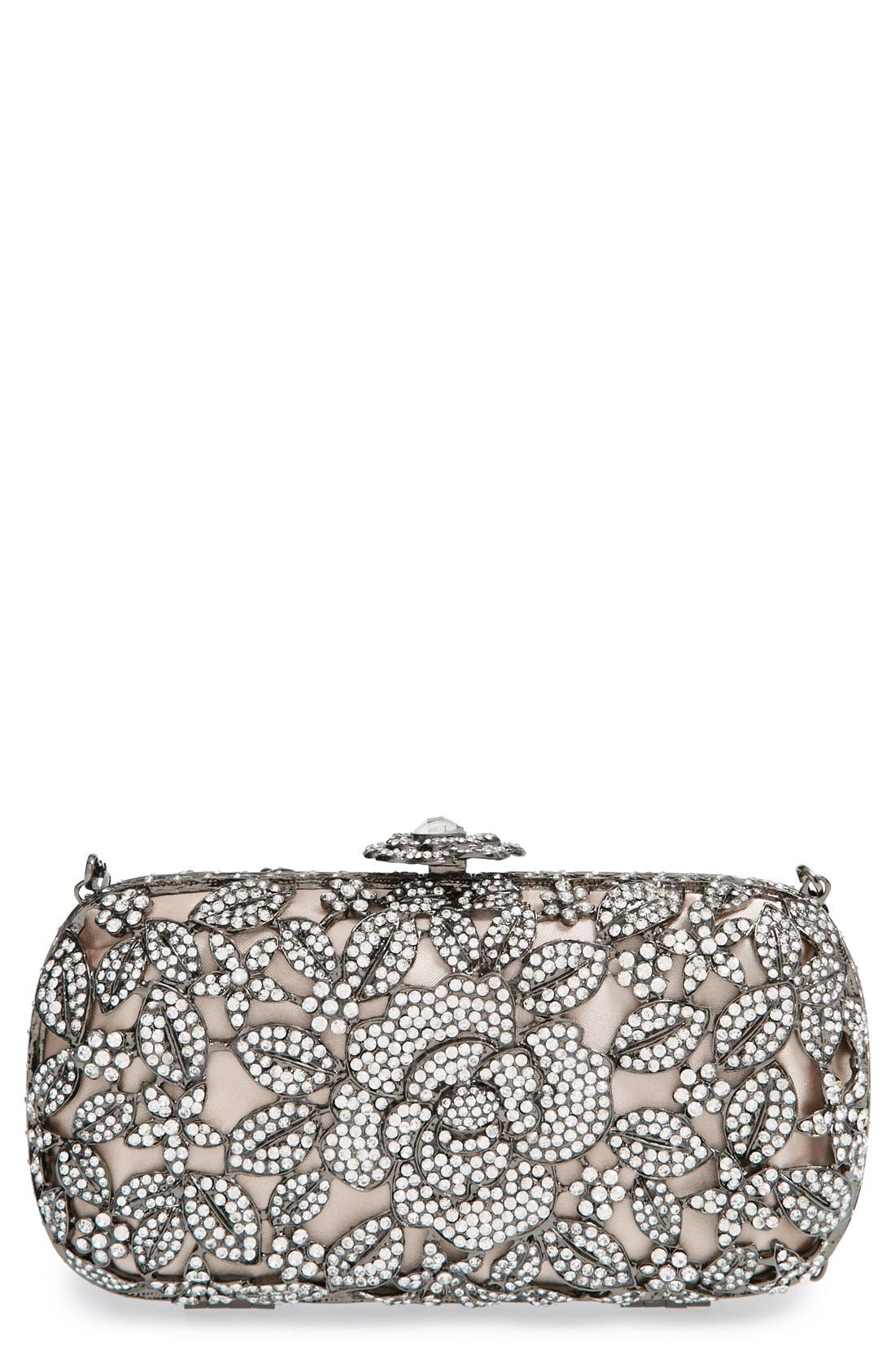 Main Image - Natasha Couture Crystal Caged Floral Clutch